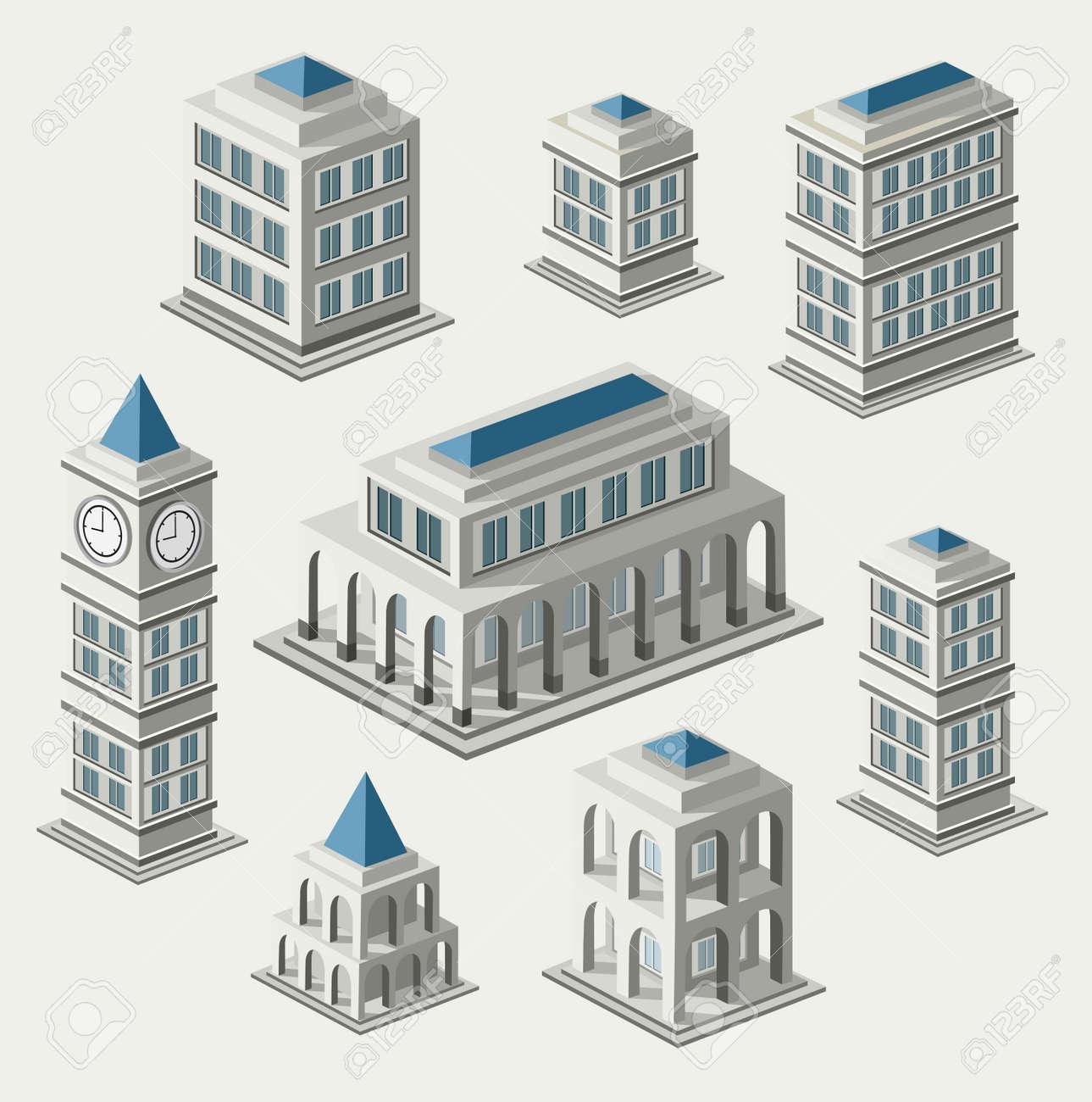 Un insieme di edifici urbani e antica nel isometrica Archivio Fotografico - 17147893