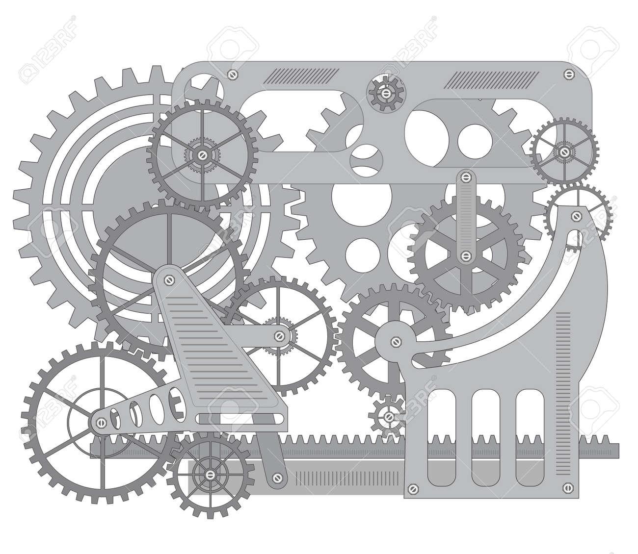 Elementi di meccanismo su sfondo nero Archivio Fotografico - 17147896