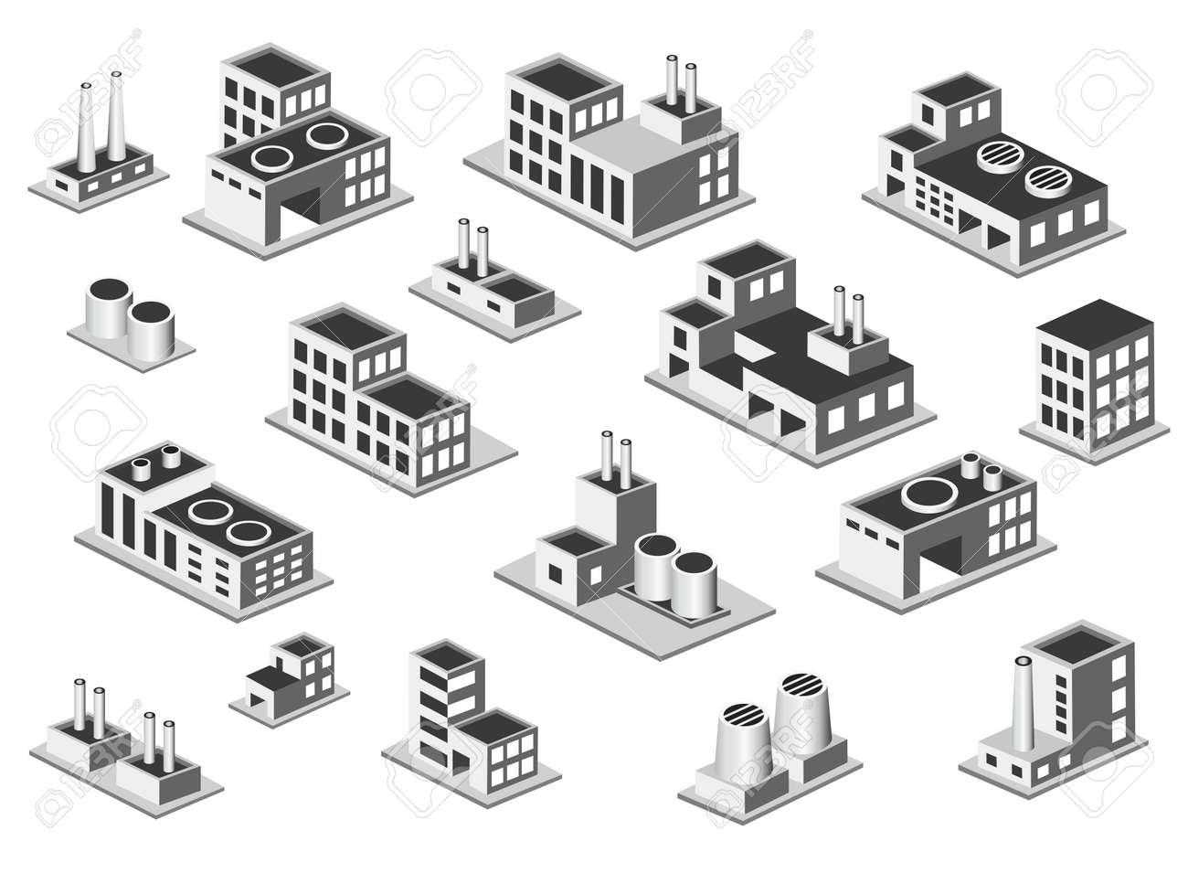 Vettoriali isometrico icon set di produzione corpi di fabbrica su sfondo bianco Archivio Fotografico - 17147910