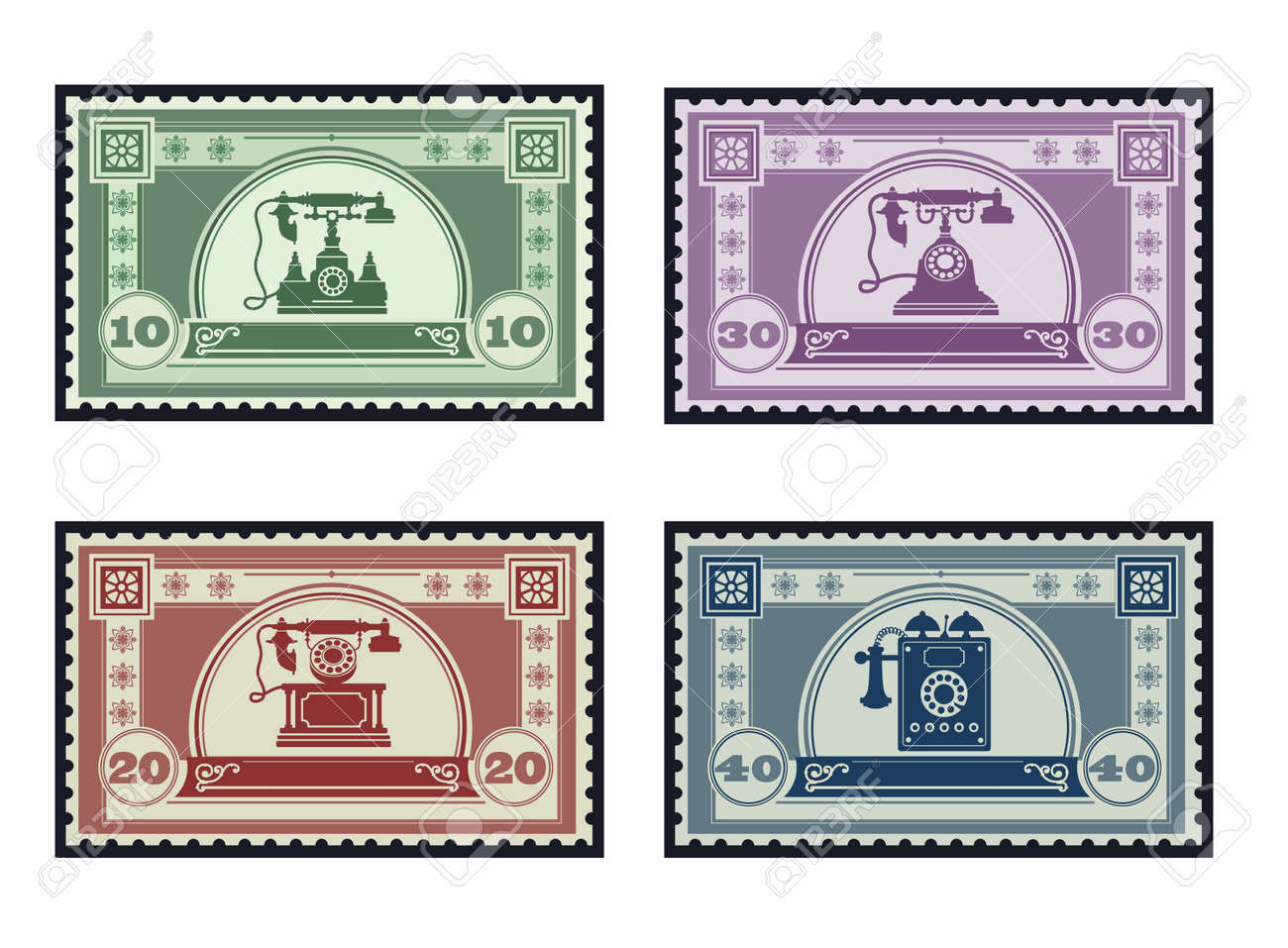 Set of old postage stamps on the theme of communication and telephony Stock Vector - 17147935