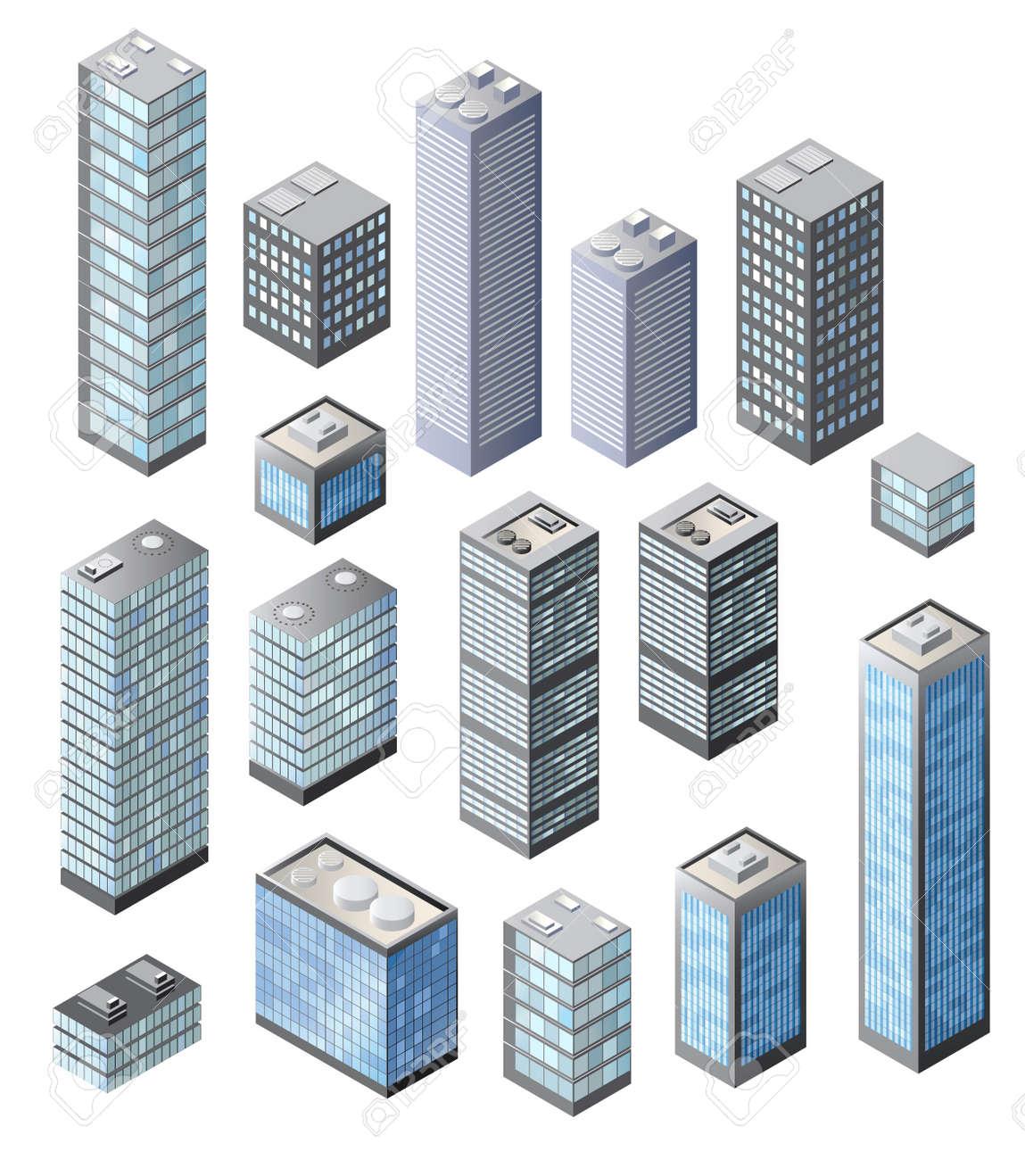 Set di edifici alti in tonalit? di blu su uno sfondo bianco Archivio Fotografico - 18729127
