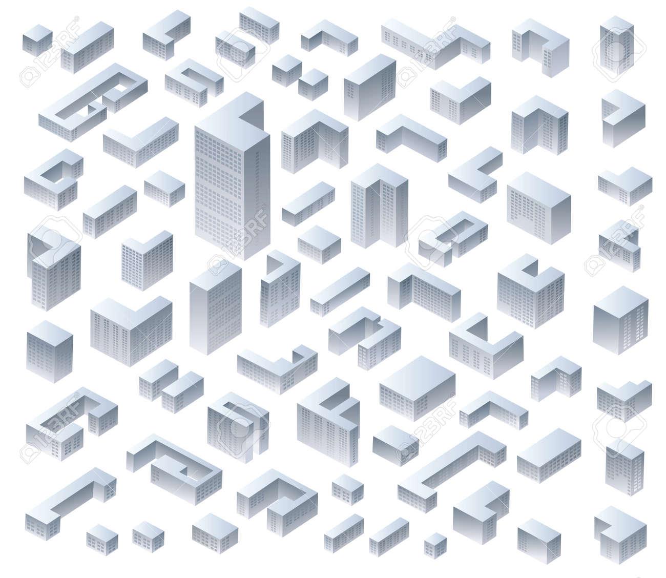 Set di vettore isometriche case moderne Archivio Fotografico - 21053527