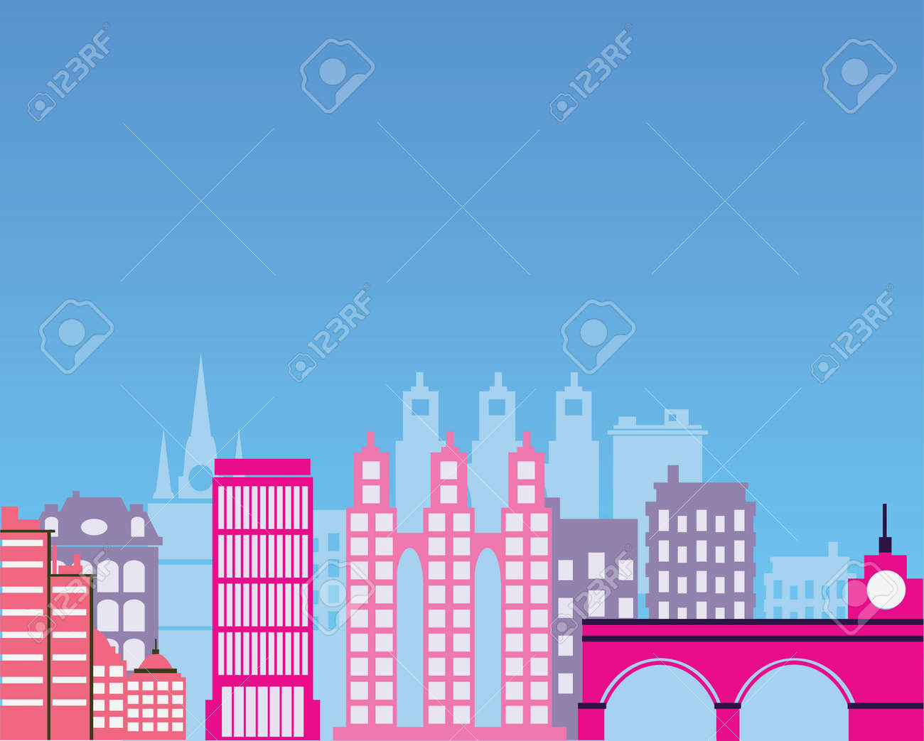 Color image of the city silhouette Stock Vector - 22345387