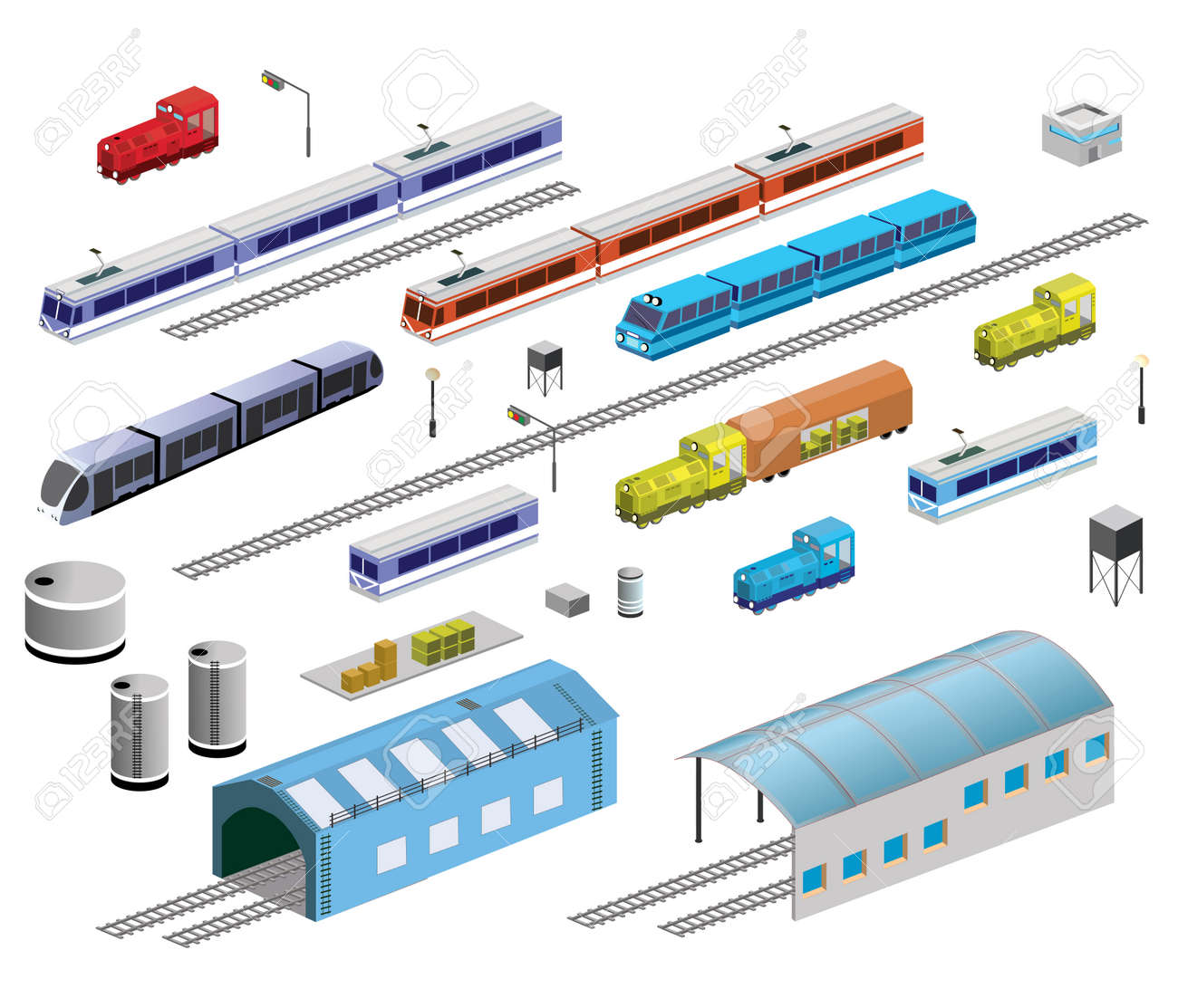 Isometric set of railroad equipment on a white background Archivio Fotografico - 22345422
