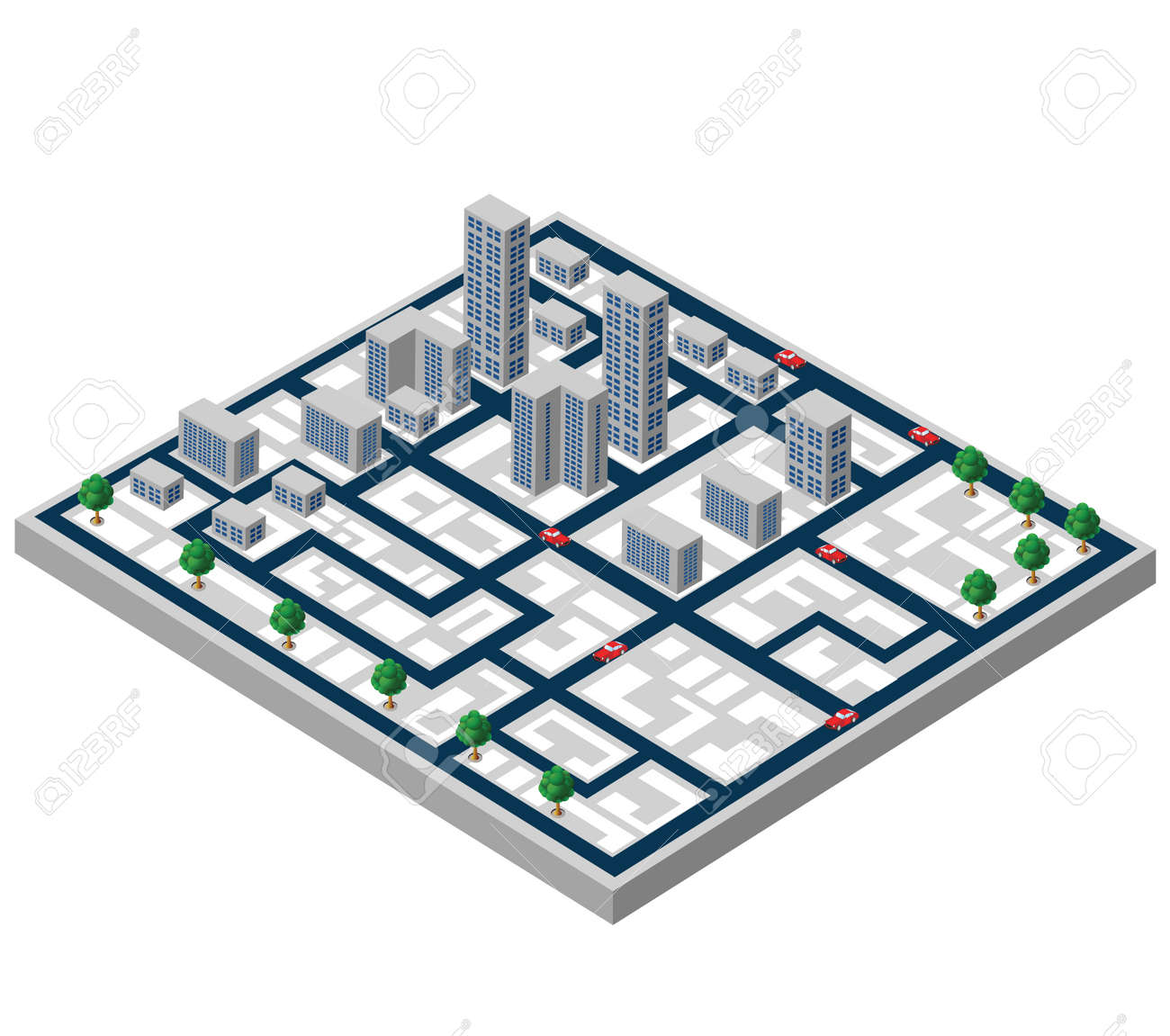 Isometric buildings on a city map on a white background Stock Vector - 22345601
