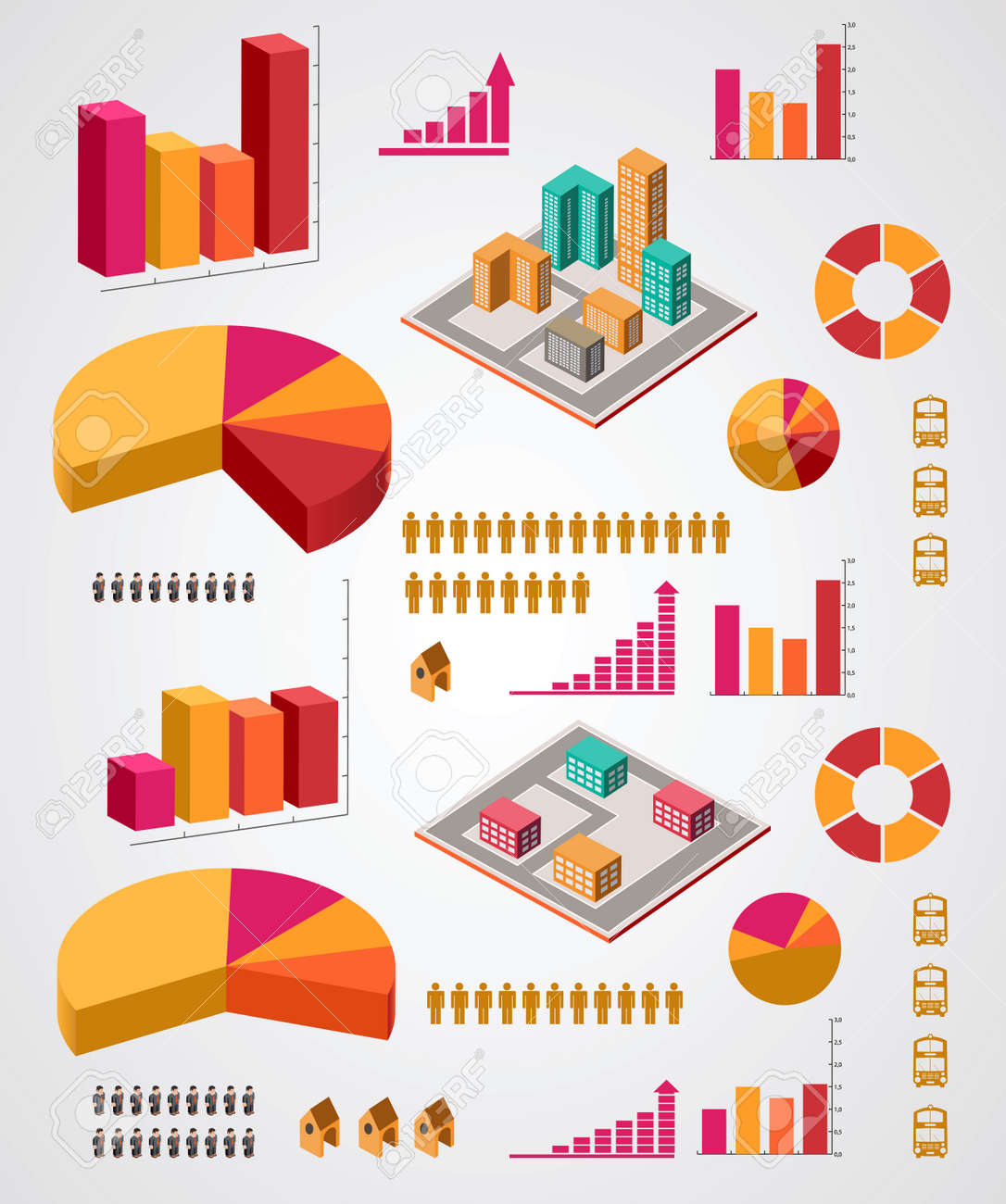 set of infographics elements on a gray background Stock Vector - 22345607