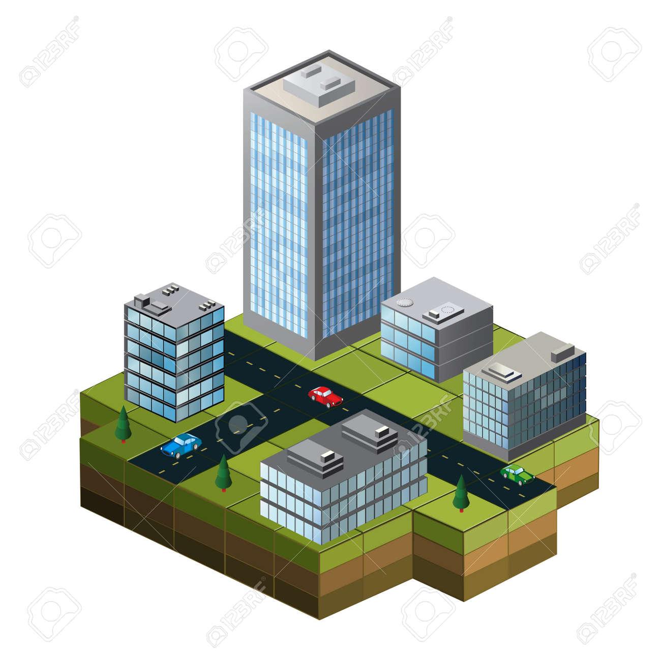 Costruzioni isometriche su una mappa della città su uno sfondo bianco Archivio Fotografico - 22345618