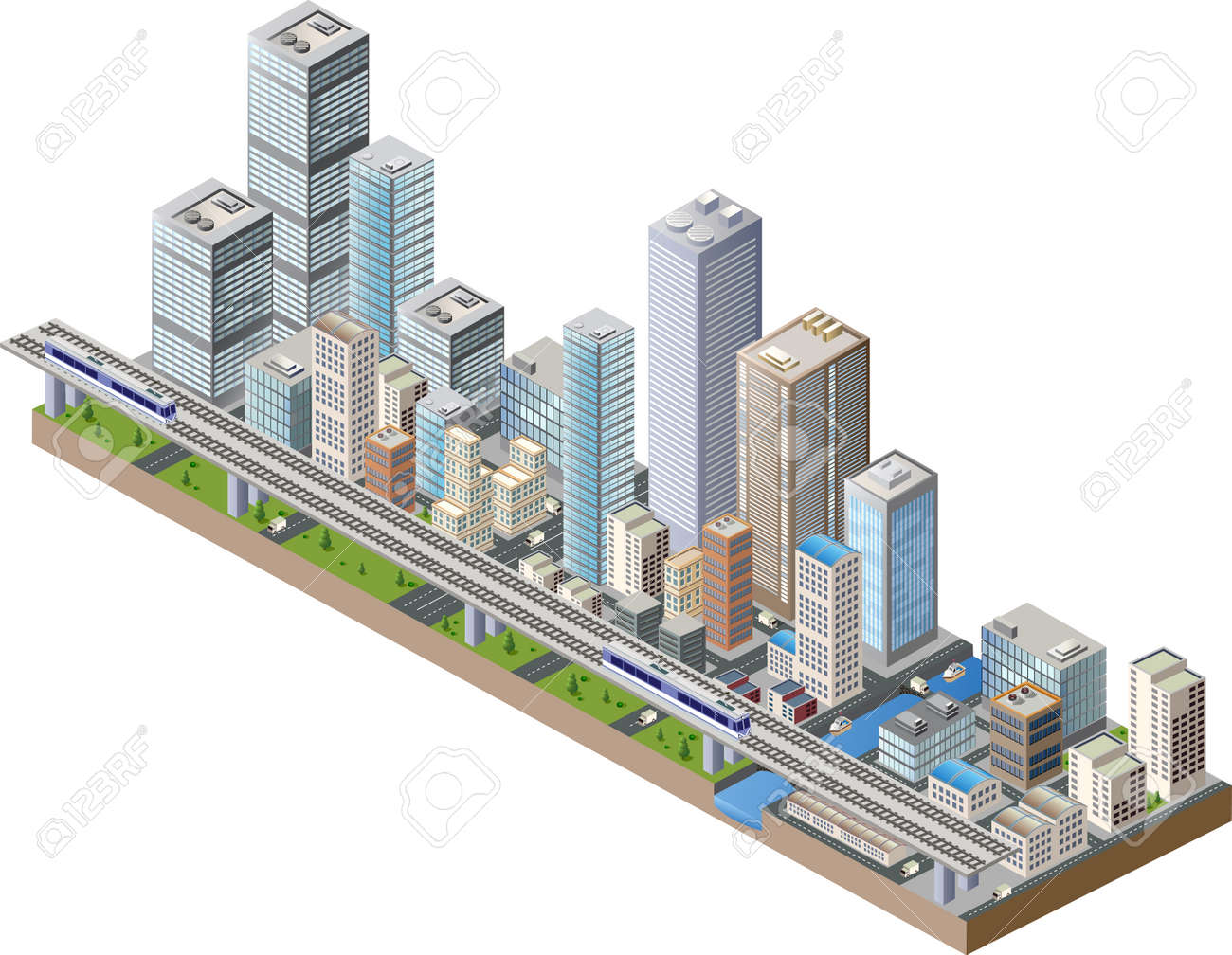Vector isometric city center on the map with lots of buildings, skyscrapers, factories, and parks Archivio Fotografico - 35597833