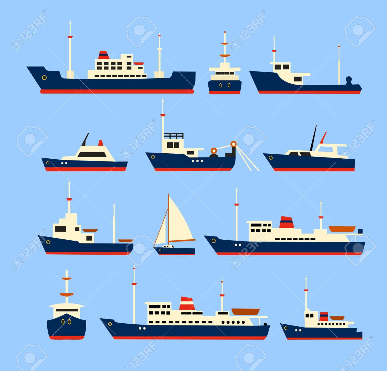 Navi impostare. Sagome di vari navi e yacht. Archivio Fotografico - 42423885