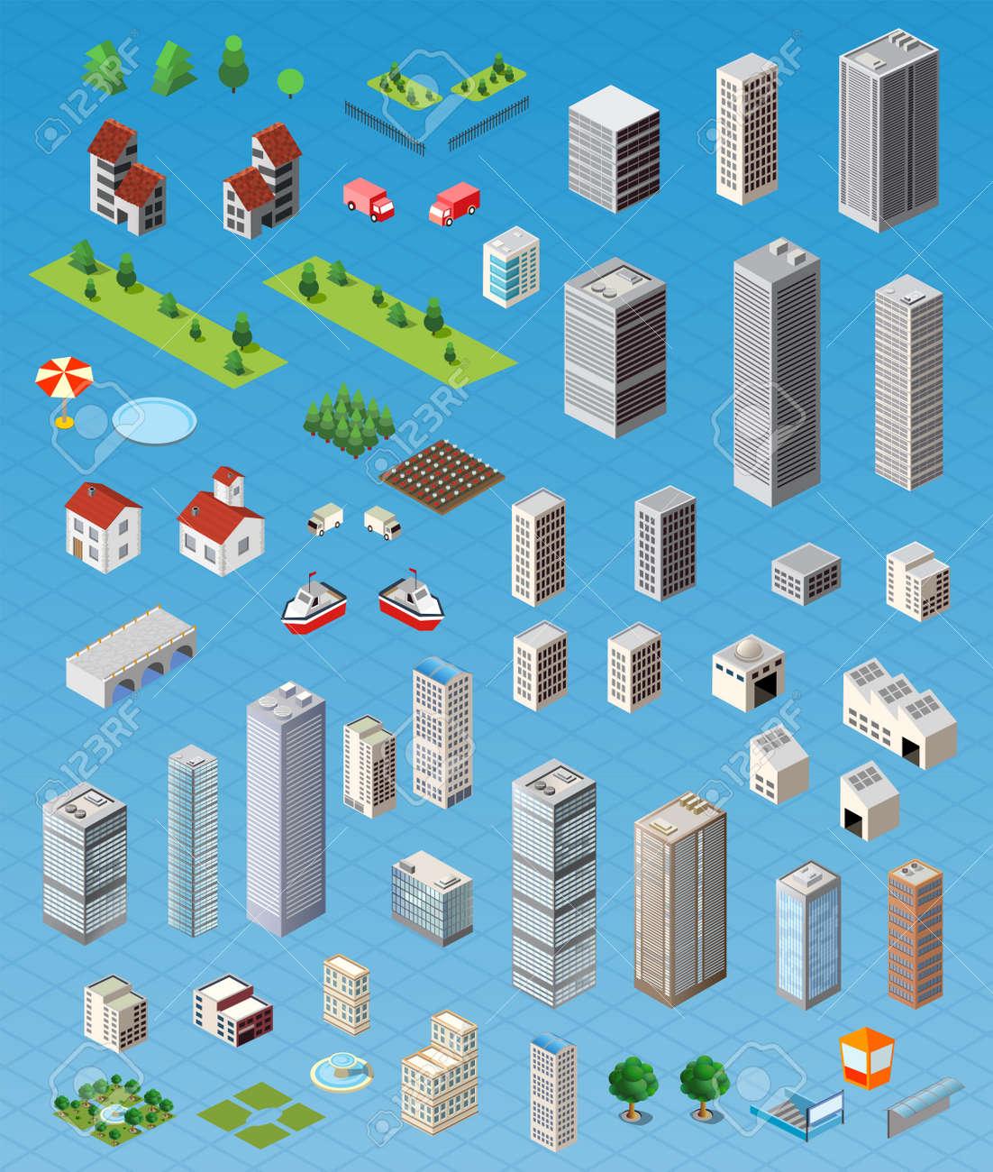 Isometrica mappa della città su strada, alberi e la costruzione di elementi di casa set di illustrazione vettoriale isolato. Archivio Fotografico - 42431675