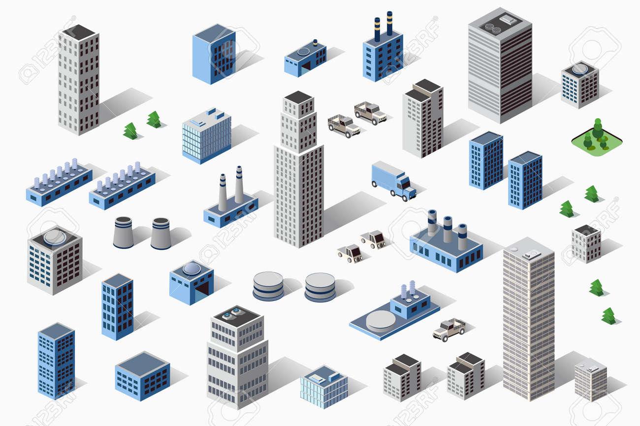 Set di industriali e residenziali urbani industriali edifici, case ed edifici in prospettiva Archivio Fotografico - 47648564