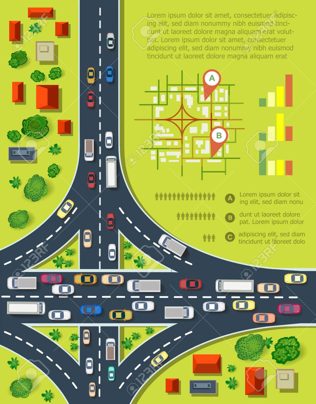 Infografica stradali con strade con un sacco di automobili. Mappa di congestione del traffico e dei trasporti urbani. Vista dall'alto della città con case e strade. Archivio Fotografico - 45979556