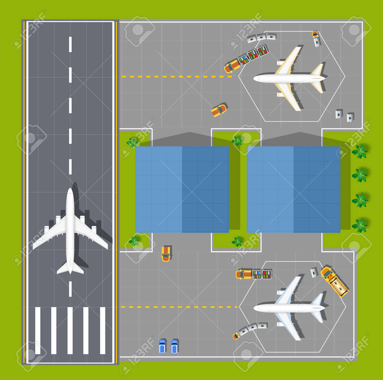 Overhead point of view airport with all the buildings, planes,