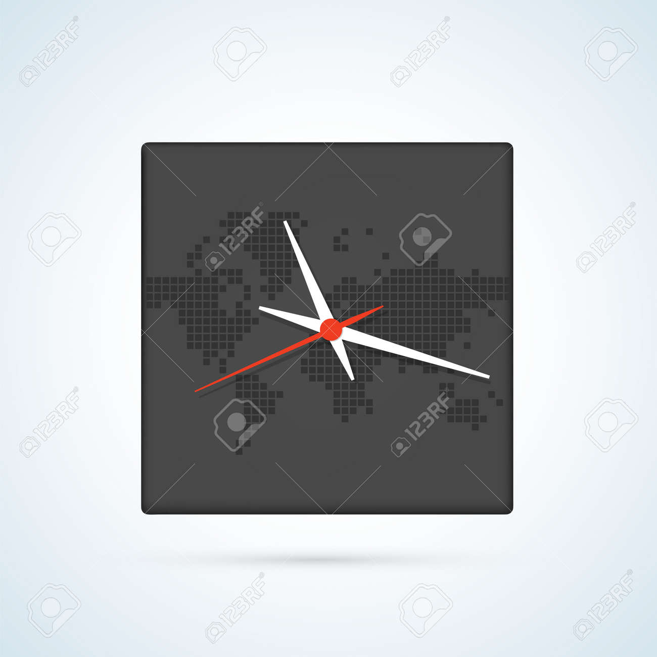 Image of a wall clock on a background map of the world with image of a wall clock on a background map of the world with continents stock vector gumiabroncs Images