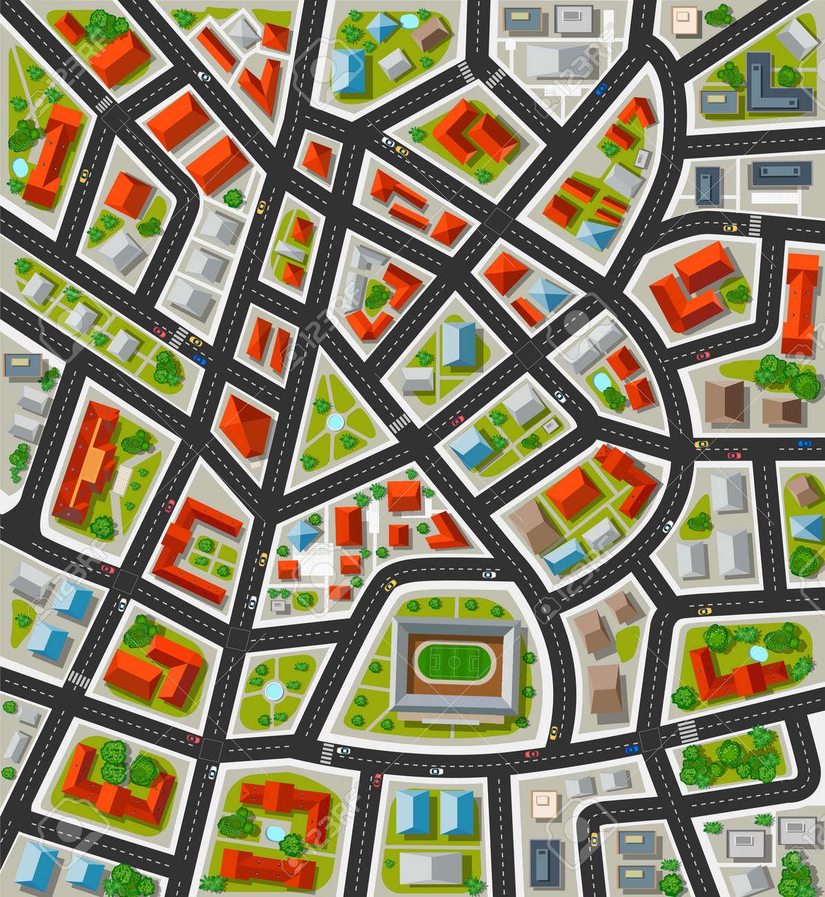 Planen Sie Für Die Große Stadt Mit Straßen, Dächer, Autos. Stadt In ...