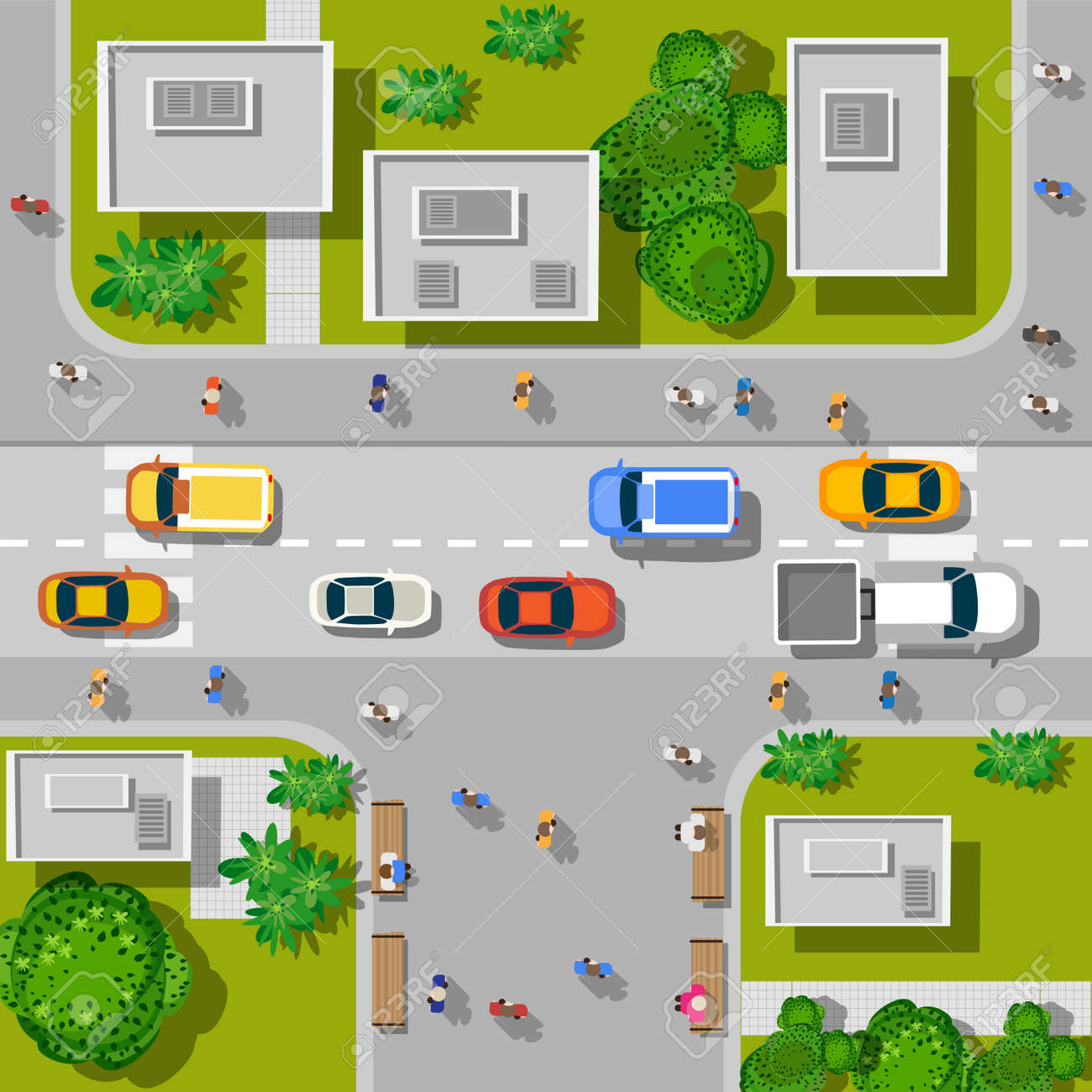 Top view of the city. Top view of urban crossroads with cars and houses. - 52726876