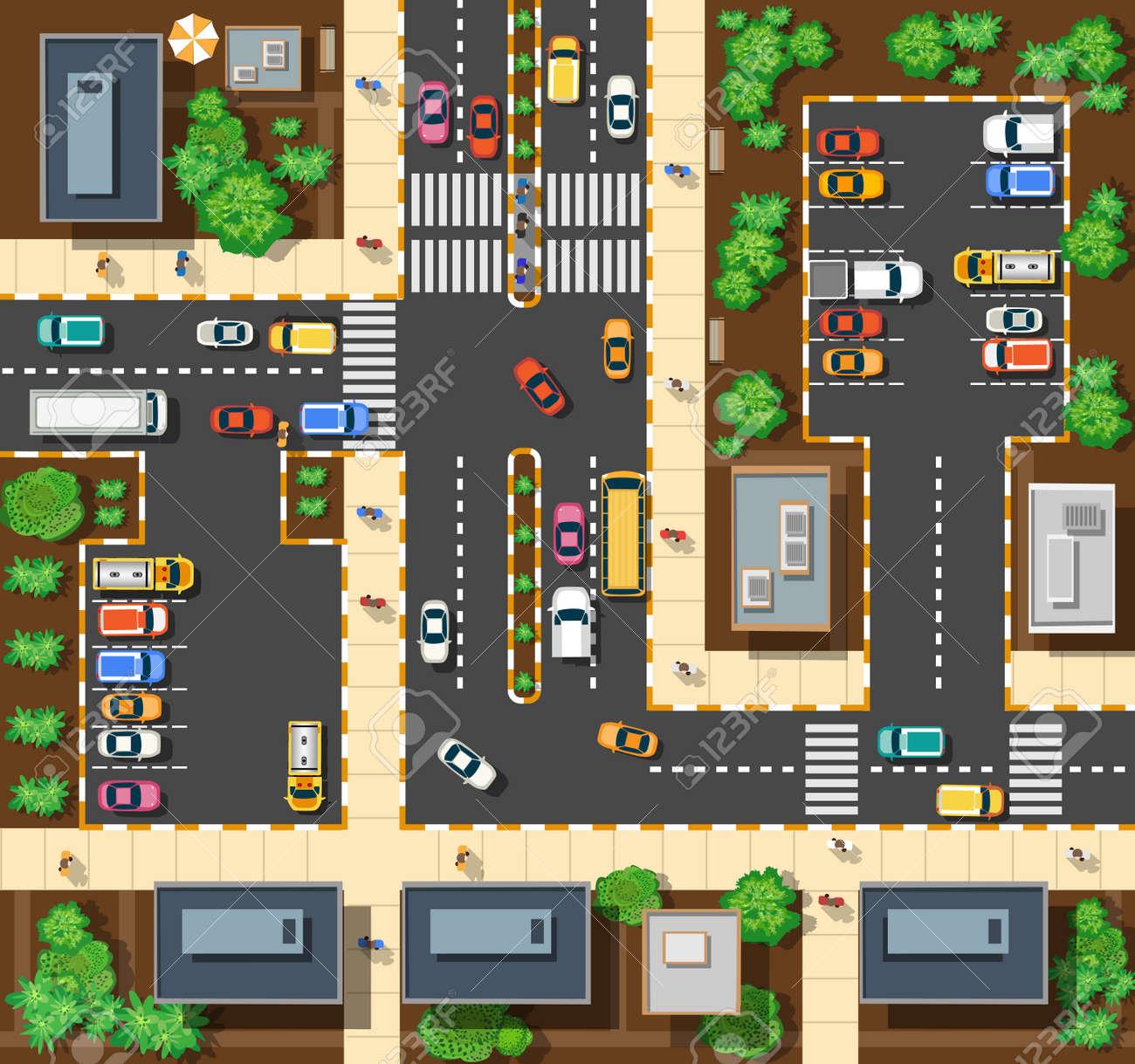 Top Blick Auf Die Stadt Von Den Straßen, Straßen, Häuser Und Autos ...