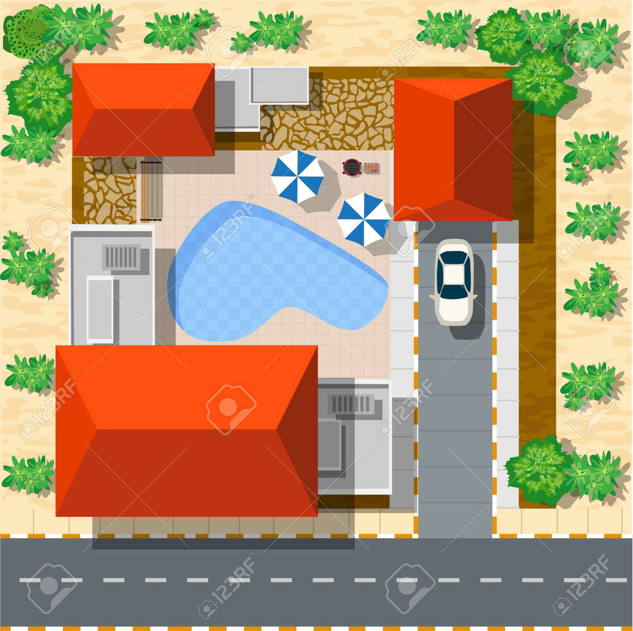 Top view of houses and streets with trees. Vector village and park view from top flat graphic - 52727248
