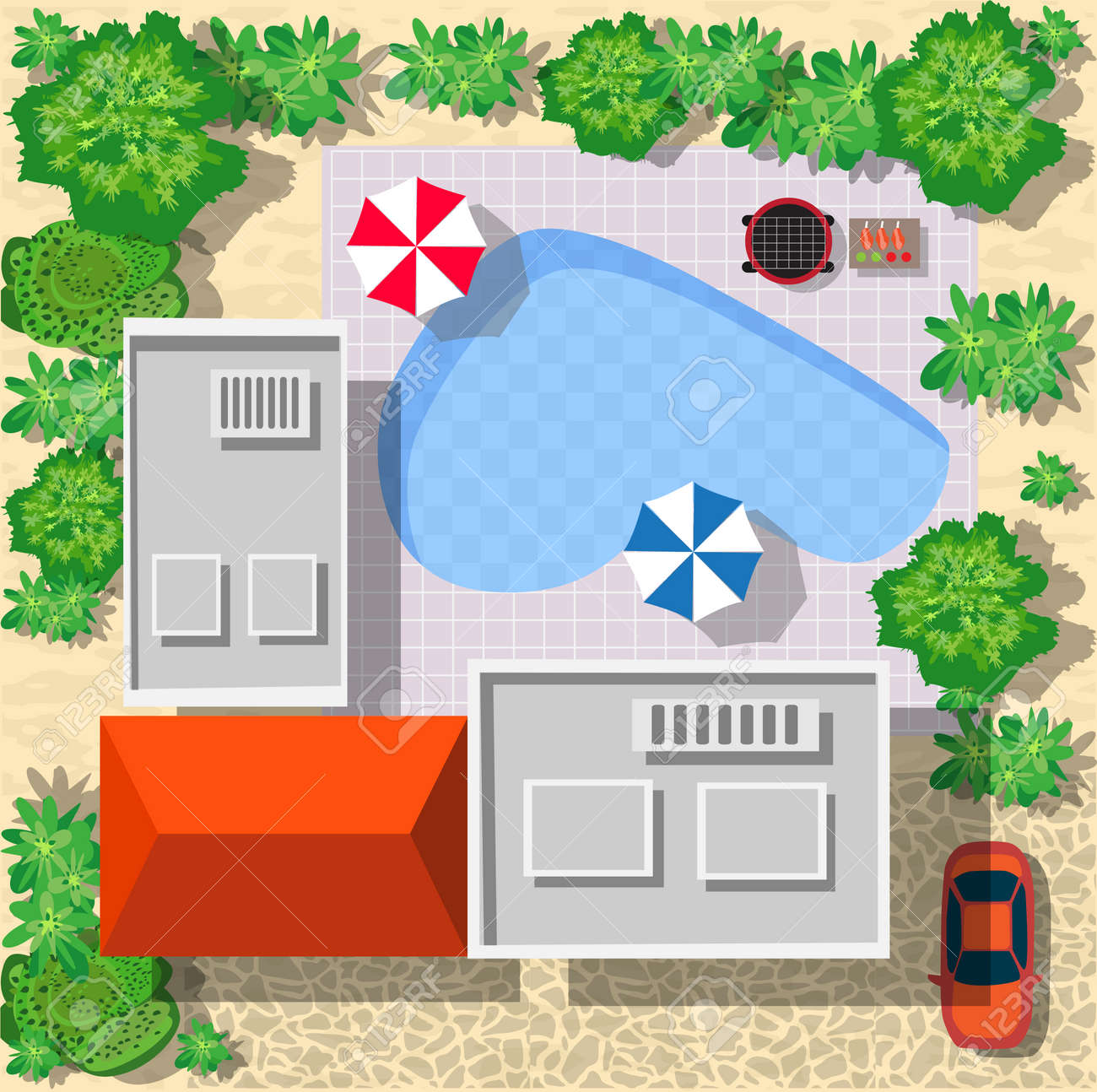 Top view of houses and streets with trees. Vector village and park view from top flat graphic - 52727251