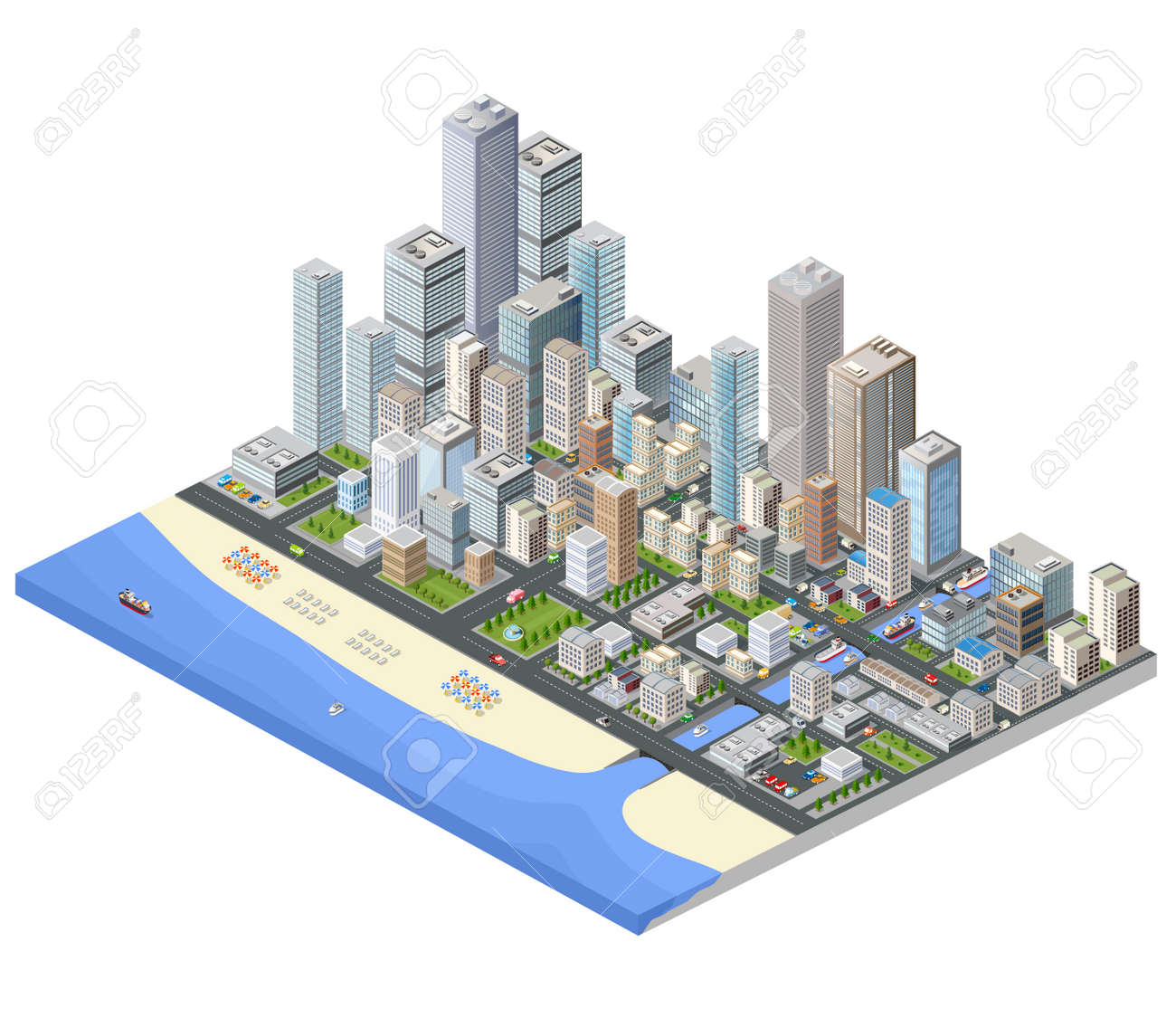 Isometric city. Skyscrapers, houses and streets in the metropolis isometric view. - 59888279
