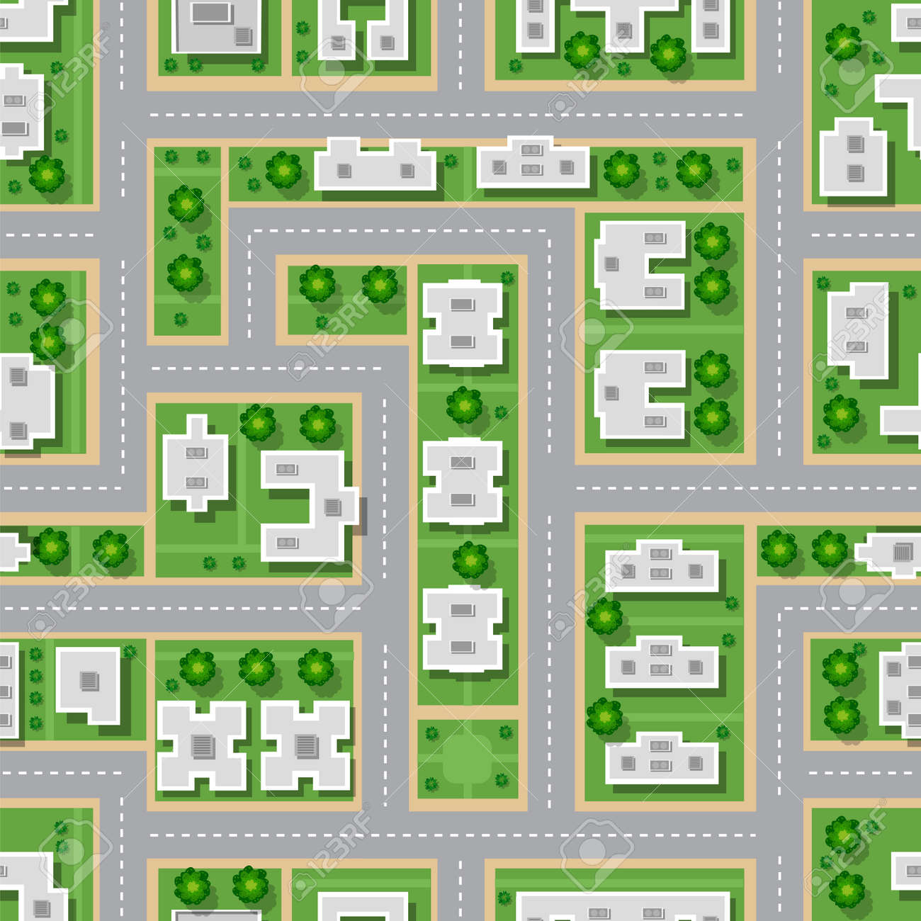 Top Blick Auf Die Stadt Nahtlose Muster Von Straßen, Straßen, Häuser ...