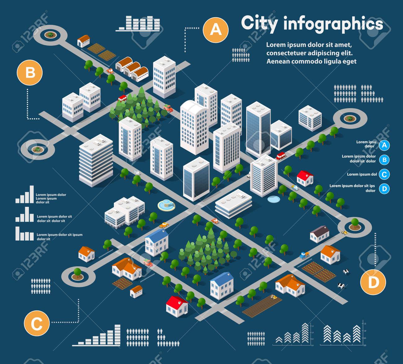 3D isometrico città infografica tridimensionali tra grattacieli, case e negozi con strade e alberi nella zona della città con i grafici e diagrammi concettuali di business Archivio Fotografico - 59888653