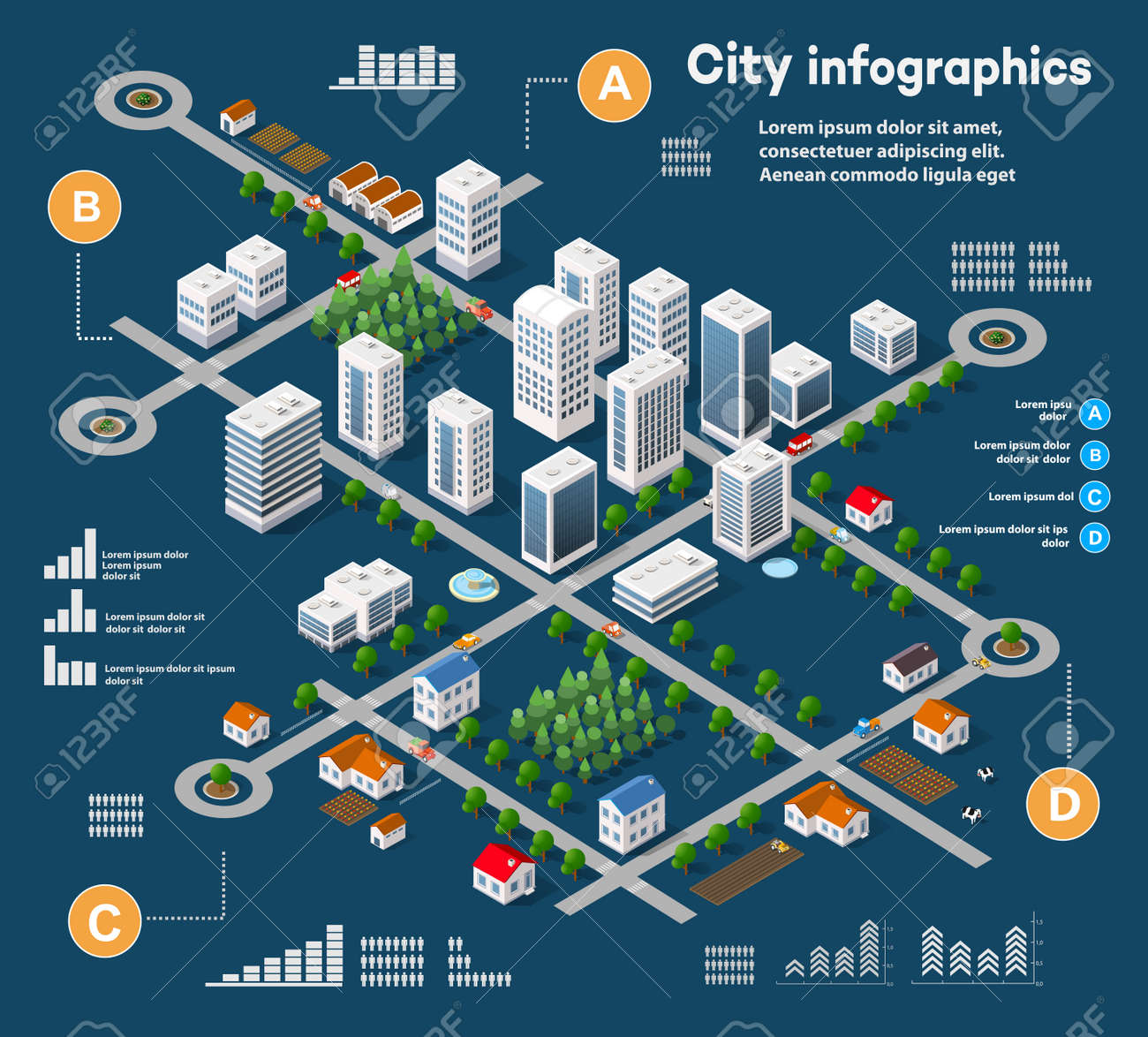 3D city isometric three-dimensional infographics including skyscrapers, homes and stores with streets and trees in the area of the city with the business conceptual graphs and diagrams - 59888653