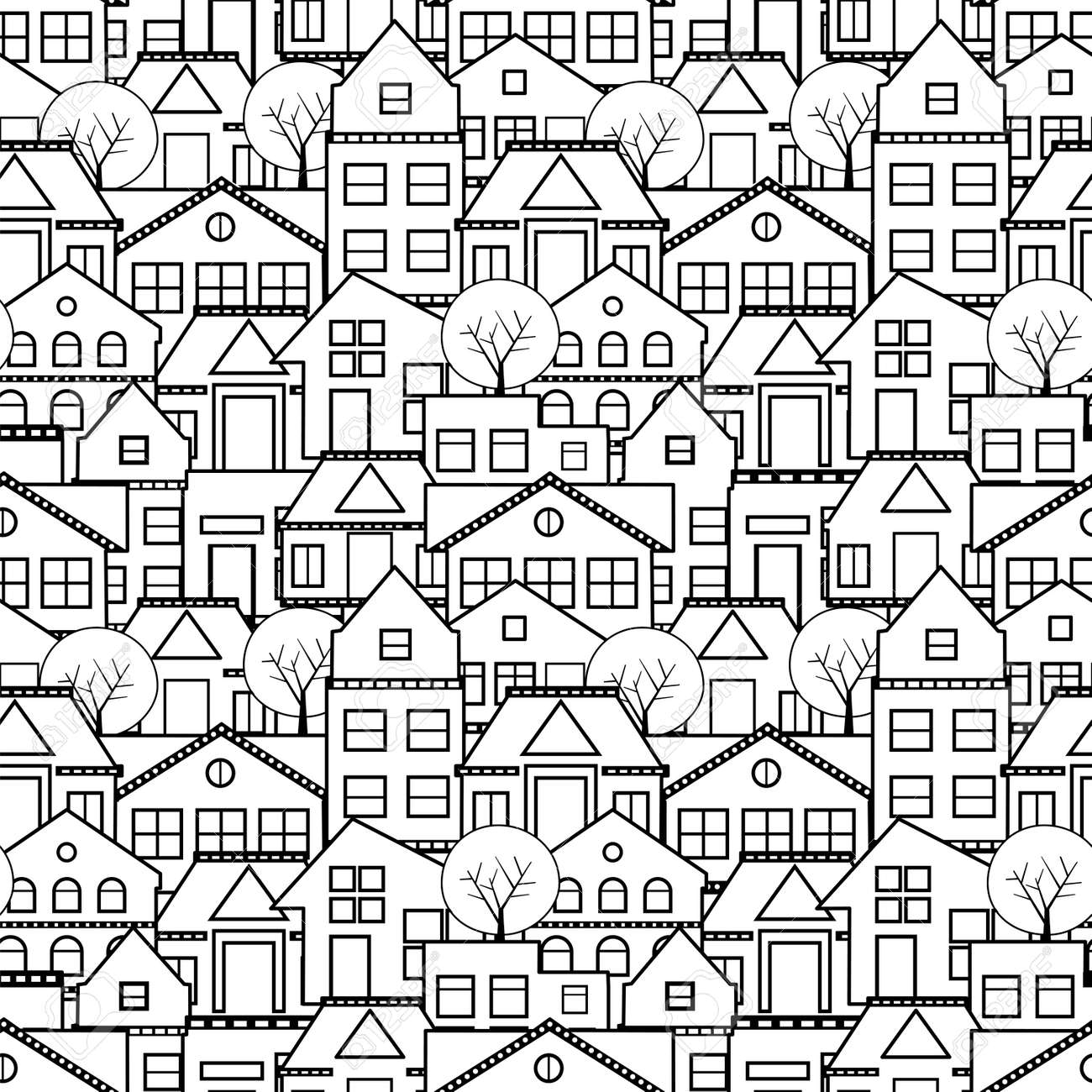 Anti Stress Coloring Book Painting For Relaxation Seamless Sketch Town Drawing The City