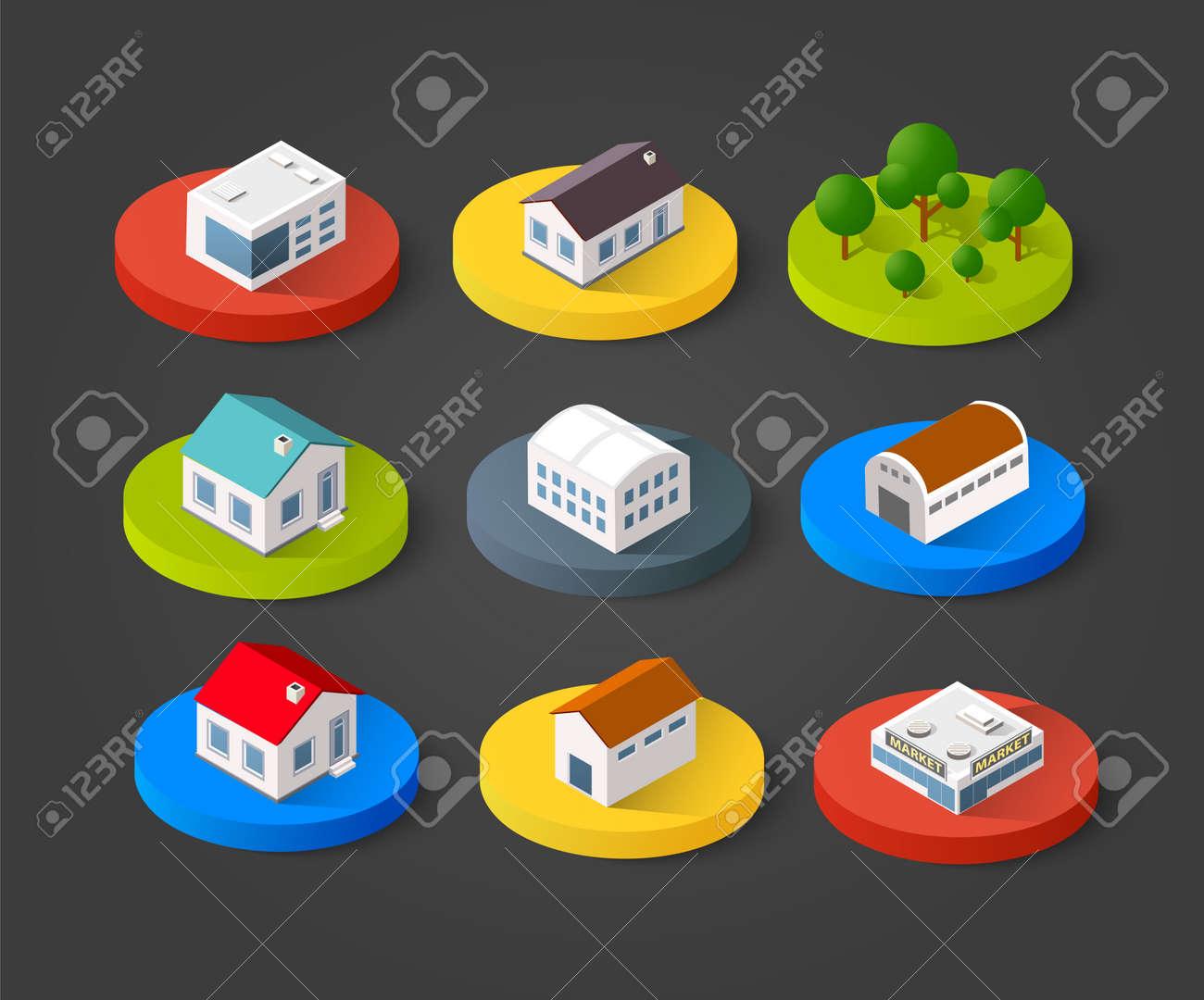 Conjunto de iconos isométrica 3D casa casero. Residencia de la construcción del paisaje de la ciudad en tres dimensiones concepto símbolo vector Foto de archivo - 68977235