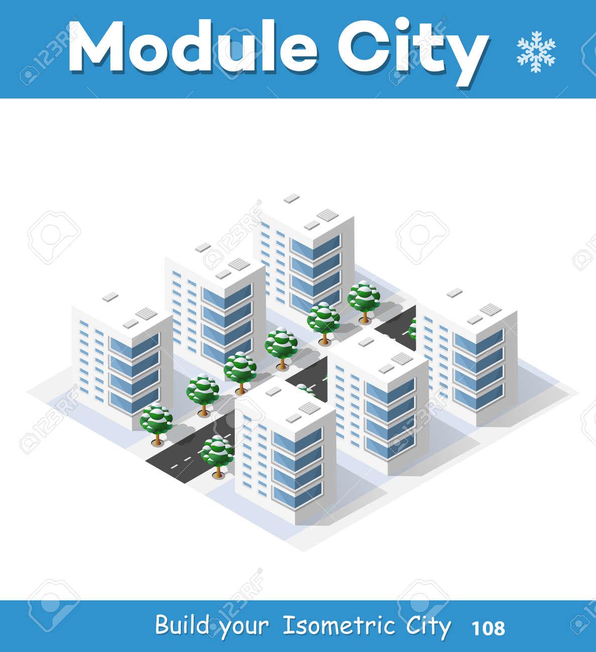 Neues Jahr Weihnachten 3d Haus Im Winterwald. Isometrische Stadt Gebäude In  Der Region Landschaft.