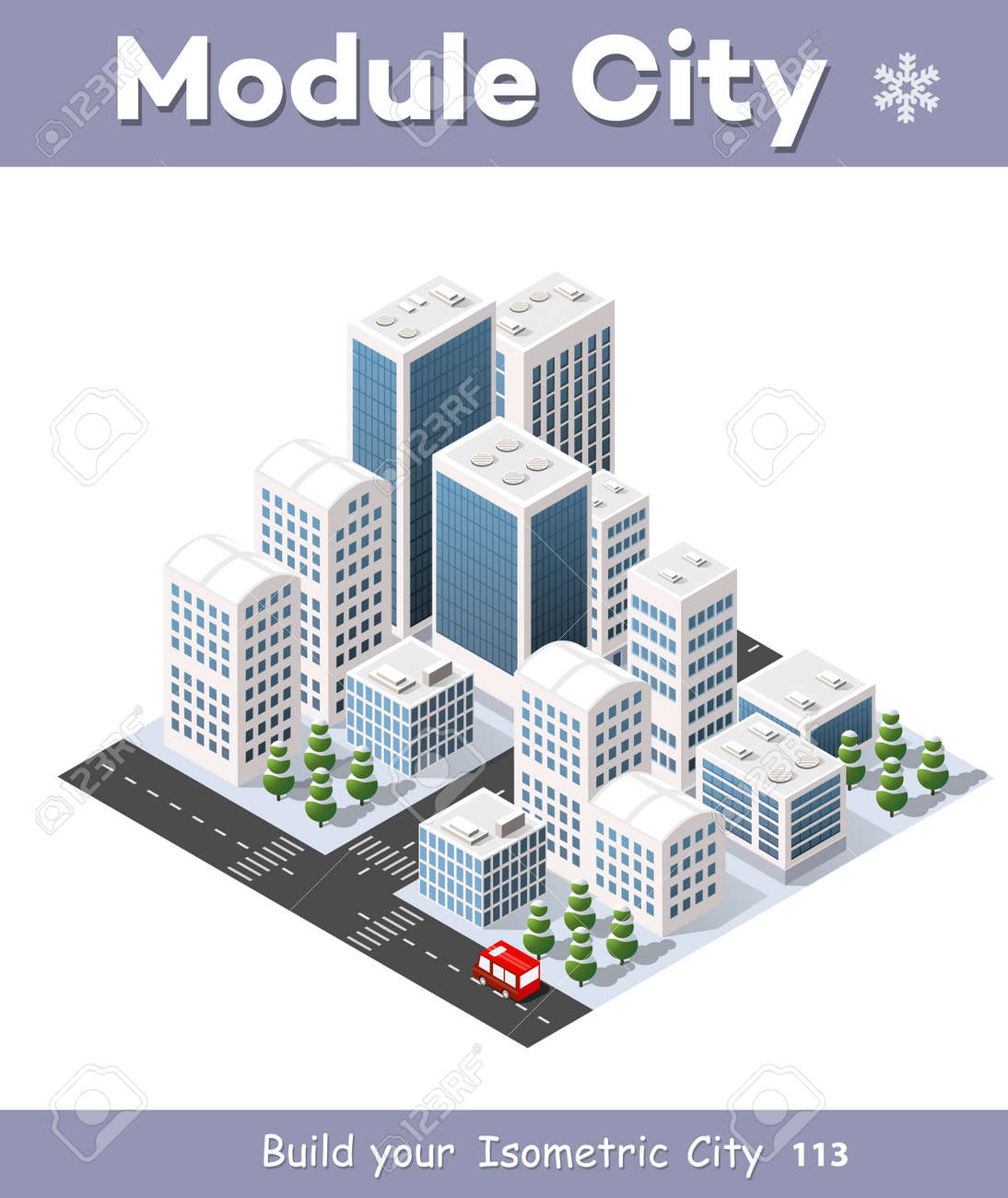 Isometric 3D city three-dimensional winter town quarter  Skyscrapers,
