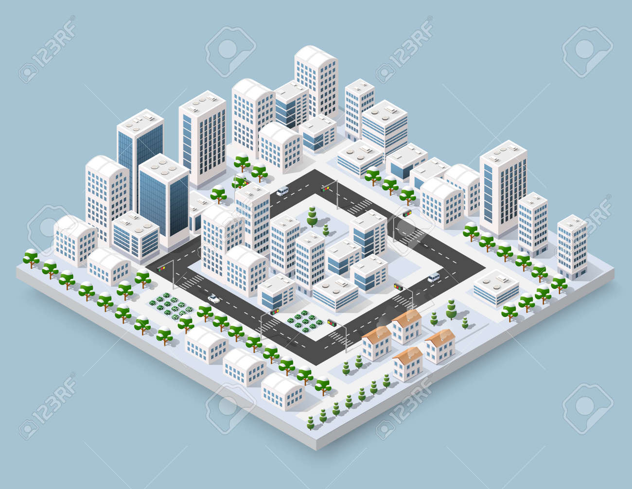 3d cityscape city street public block house from above highway