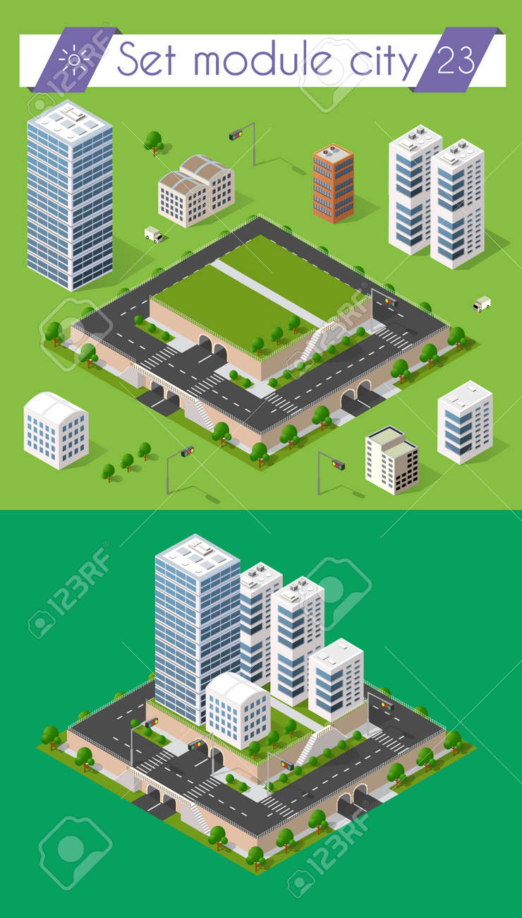 Cityscape Design Elements With Isometric Building City Map Generator 3D Flat Icon Set Isolated