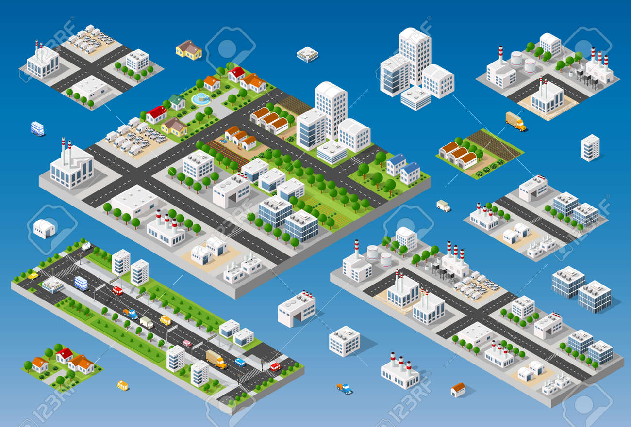 Cityscape Design Elements With Isometric Building City Map Generator on