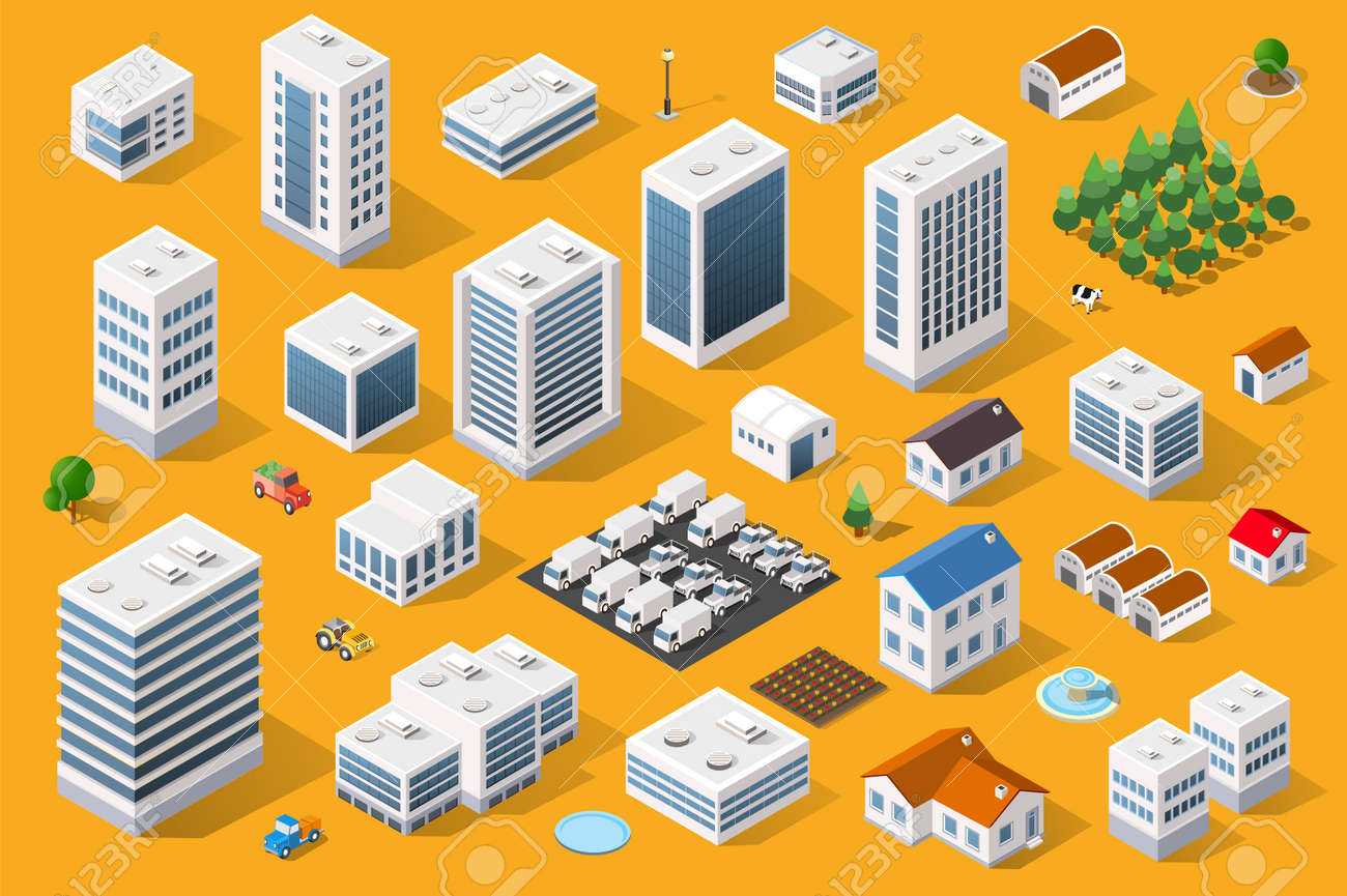 Cityscape design elements with isometric building city map generator