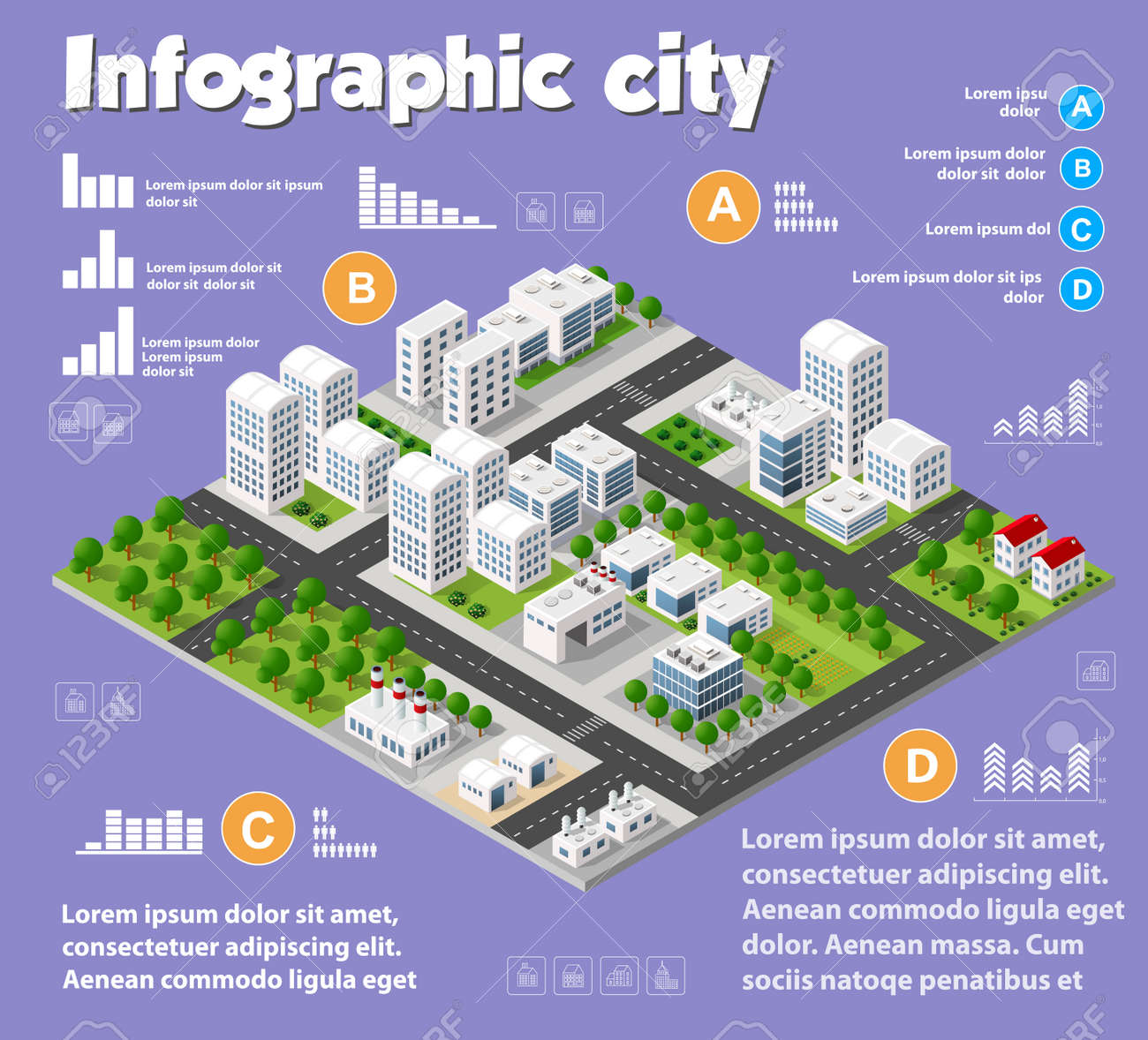 Architecture Design Elements isometric city map industry infographic set, with transport