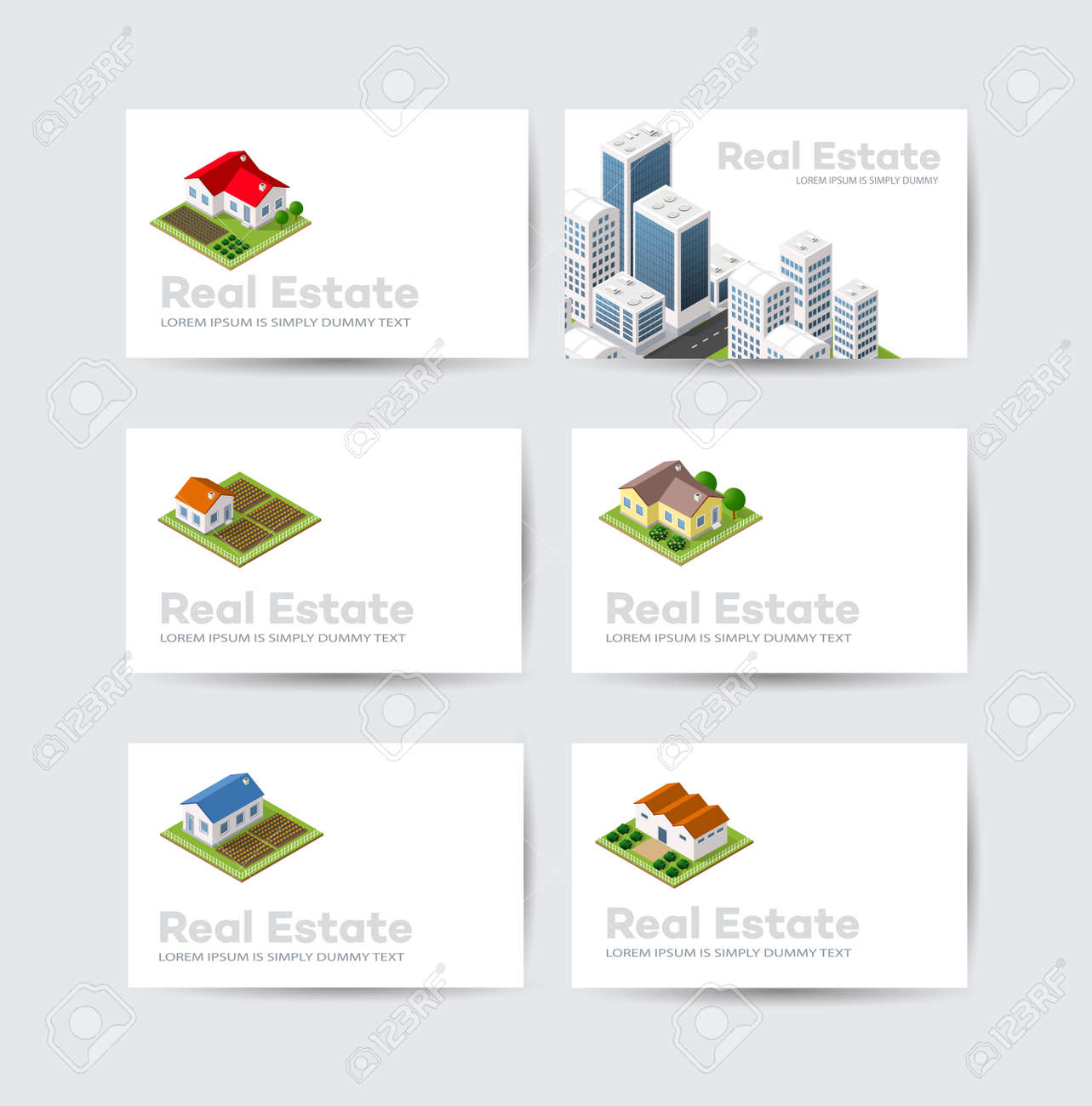 Set Business Card Template. For Real Estate Agencies, Construction ...