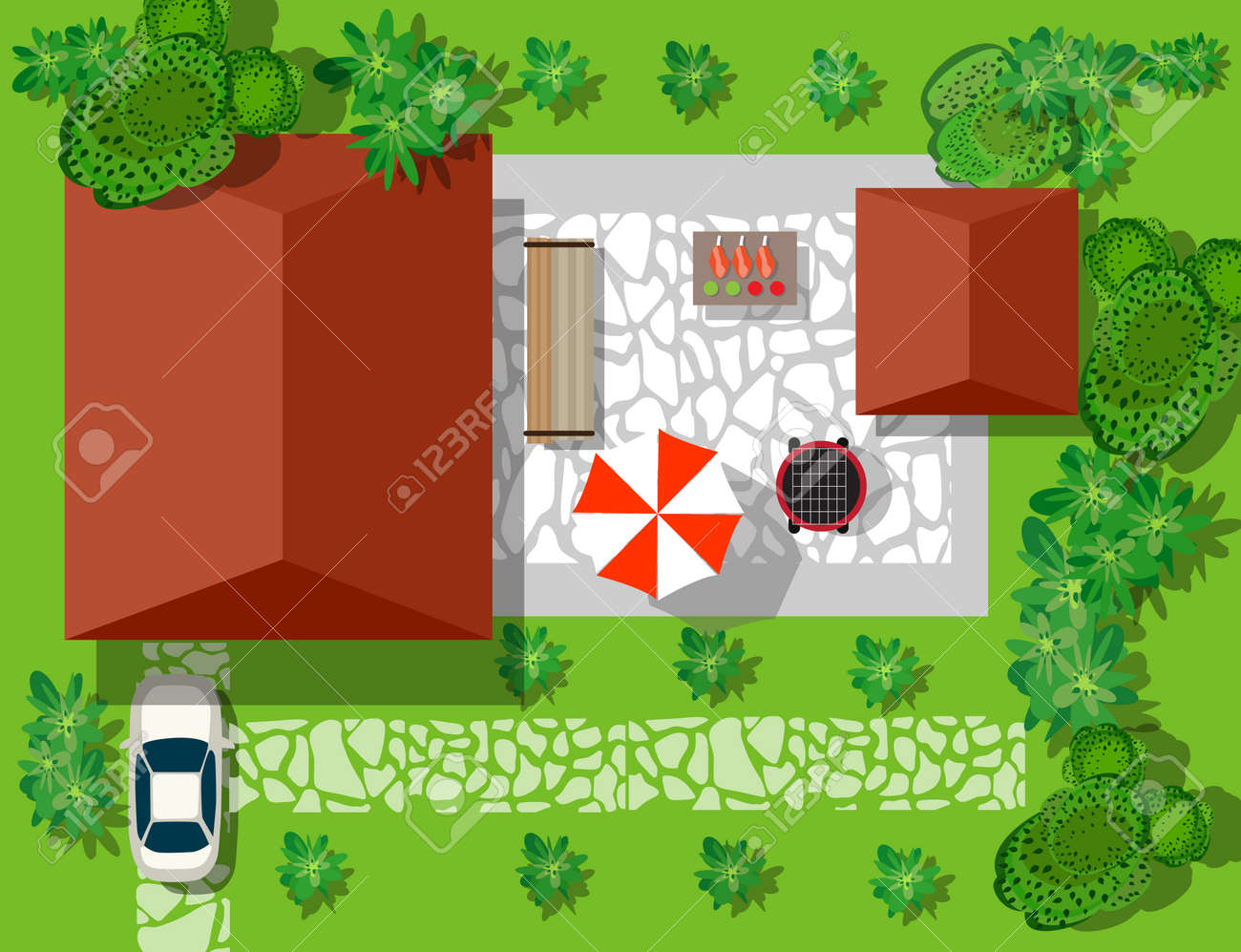 Top view of houses and streets with trees  Vector village and