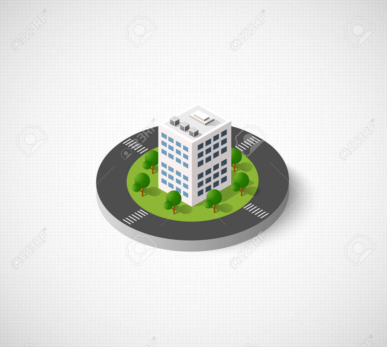Icon Of The City With Isometric Houses Skyscrapers Streets