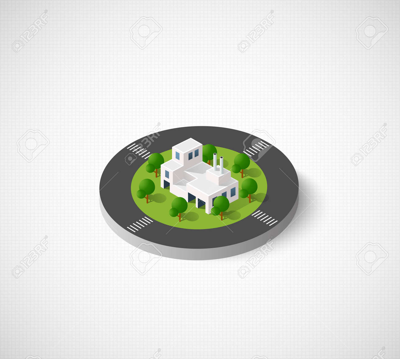 Icon of the city with isometric houses skyscrapers streets and icon of the city with isometric houses skyscrapers streets and trees urban signs biocorpaavc