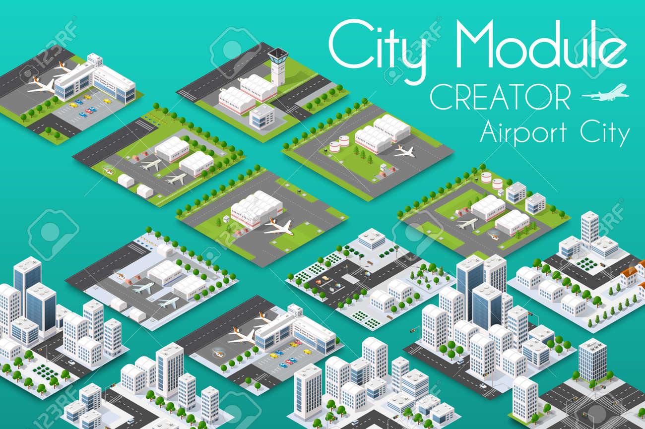 City module creator isometric airport of urban infrastructure business. - 88246996