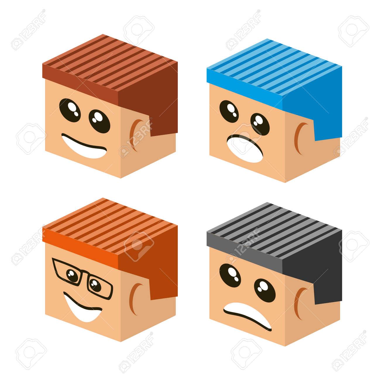Emoji Emoticon Expression Icons In Style Cartoon Face Symbols