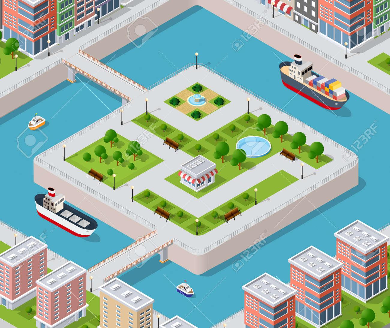 f46c927dd0c5a3 Banque d images - Quai de la rivière avec des ponts de l architecture des  éléments, la maison, la construction, le bloc et le parc.