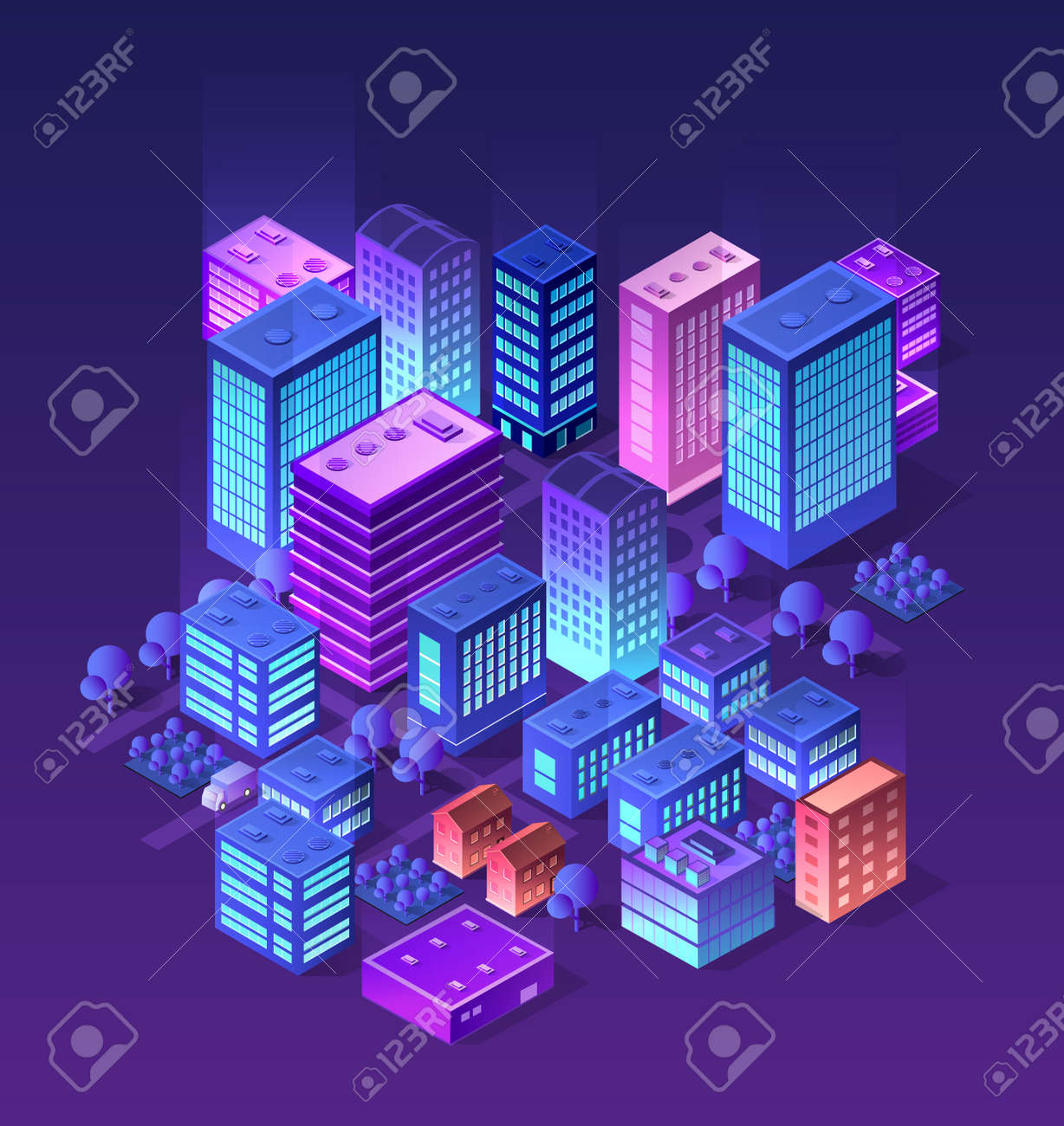 future 3d futuristic isometric city from smart business technology rh 123rf com