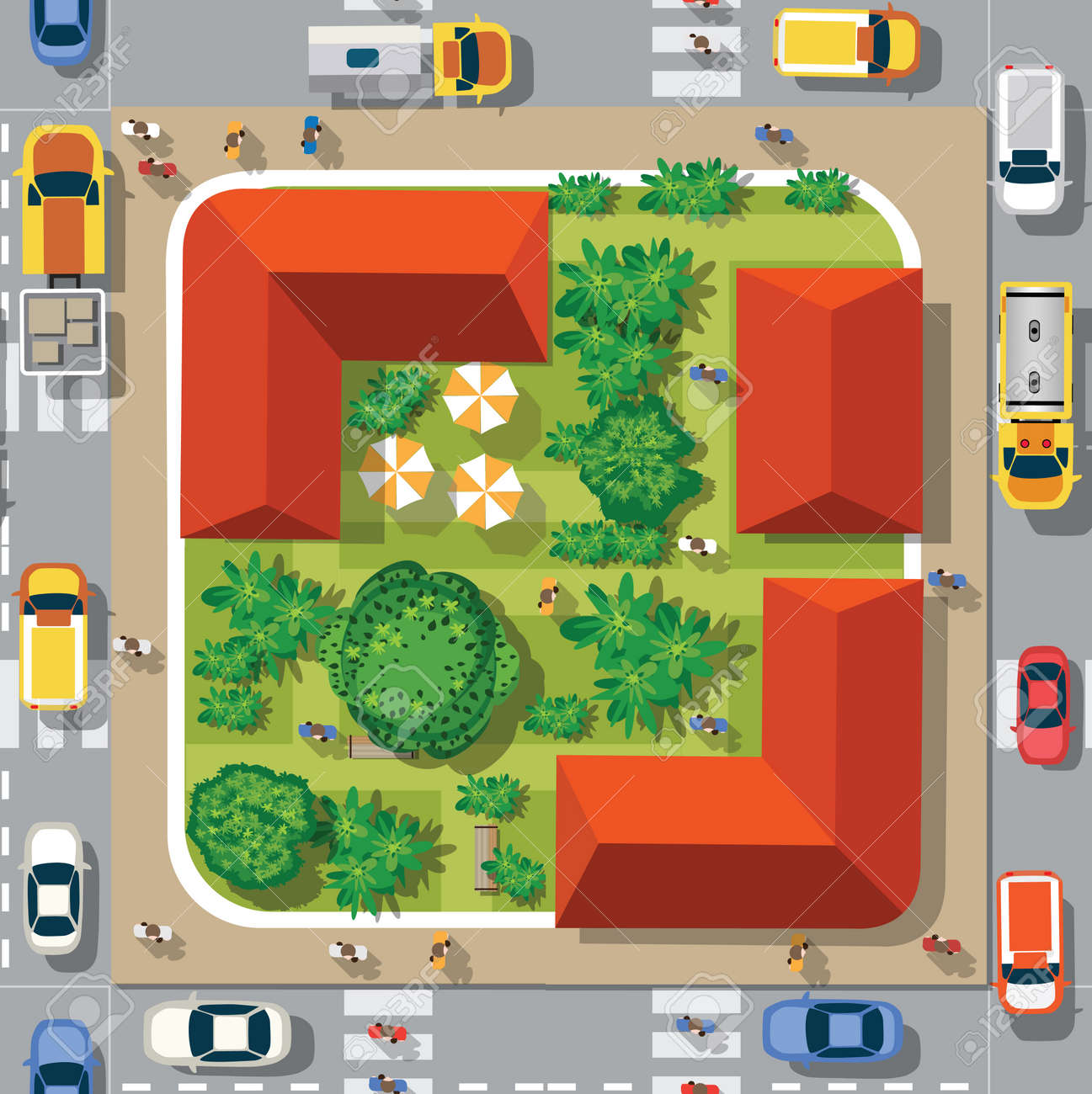 Top view of the seamless pattern landscape city. Urban crossroads with cars and houses, pedestrians. Background town map pattern streets, intersection roof and buildings. - 129976542