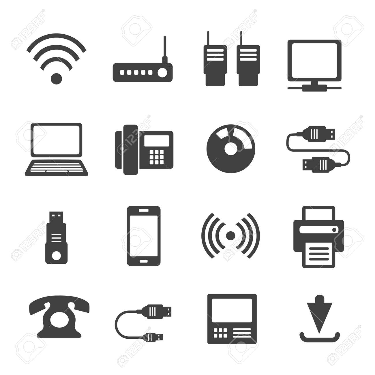 Icons media Communications. A set of internet icons with different Business objects. Computer, telephone, communication, and communication and presentation of business ideas. - 129976638