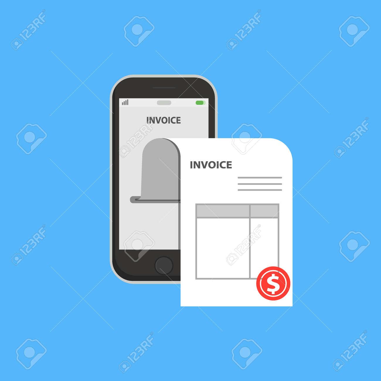 Invoice Bill In Smartphone Concept Vector Illustration Flat - Mobile phone invoice