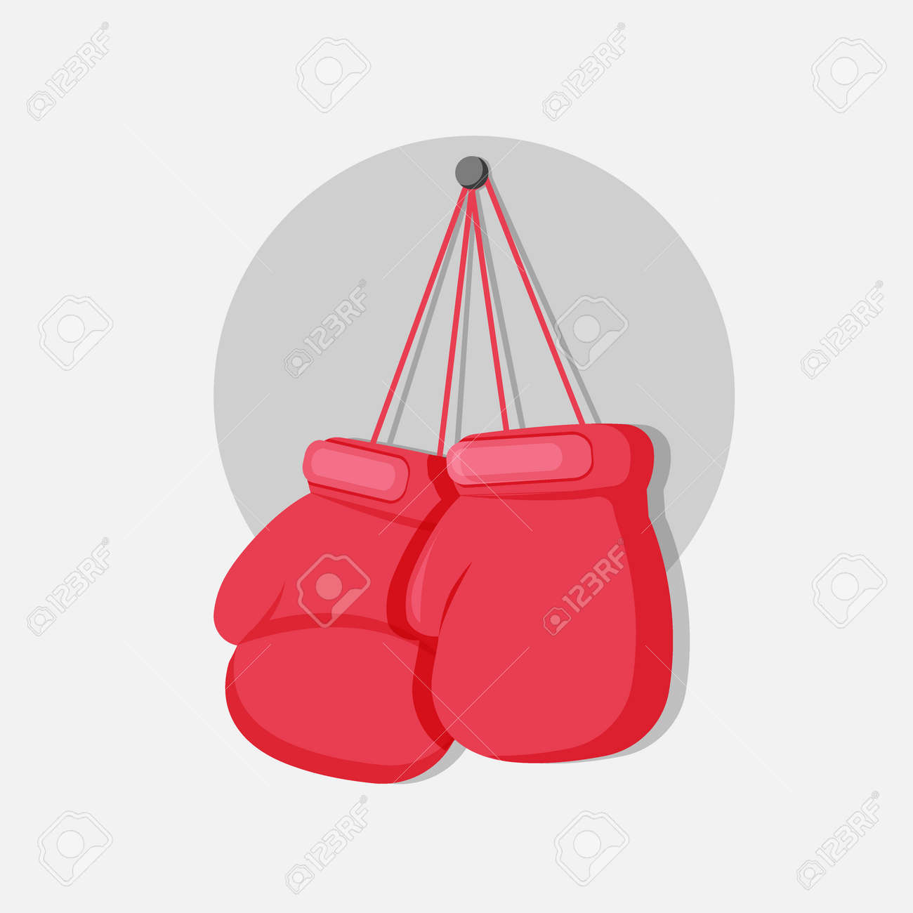 boxing gloves hanging on a nail vector flat illustration template