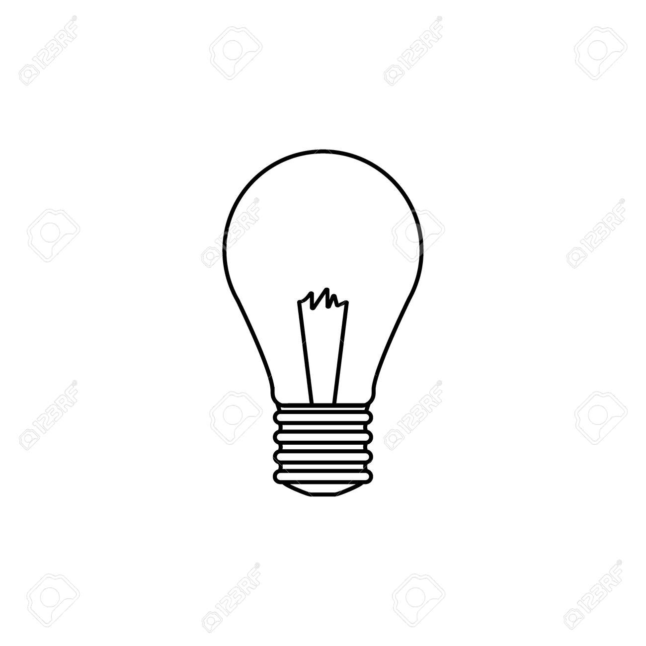 icon lighting white light bulb line icon lighting electric lamp isolated on white background idea sign line icon lamp on white