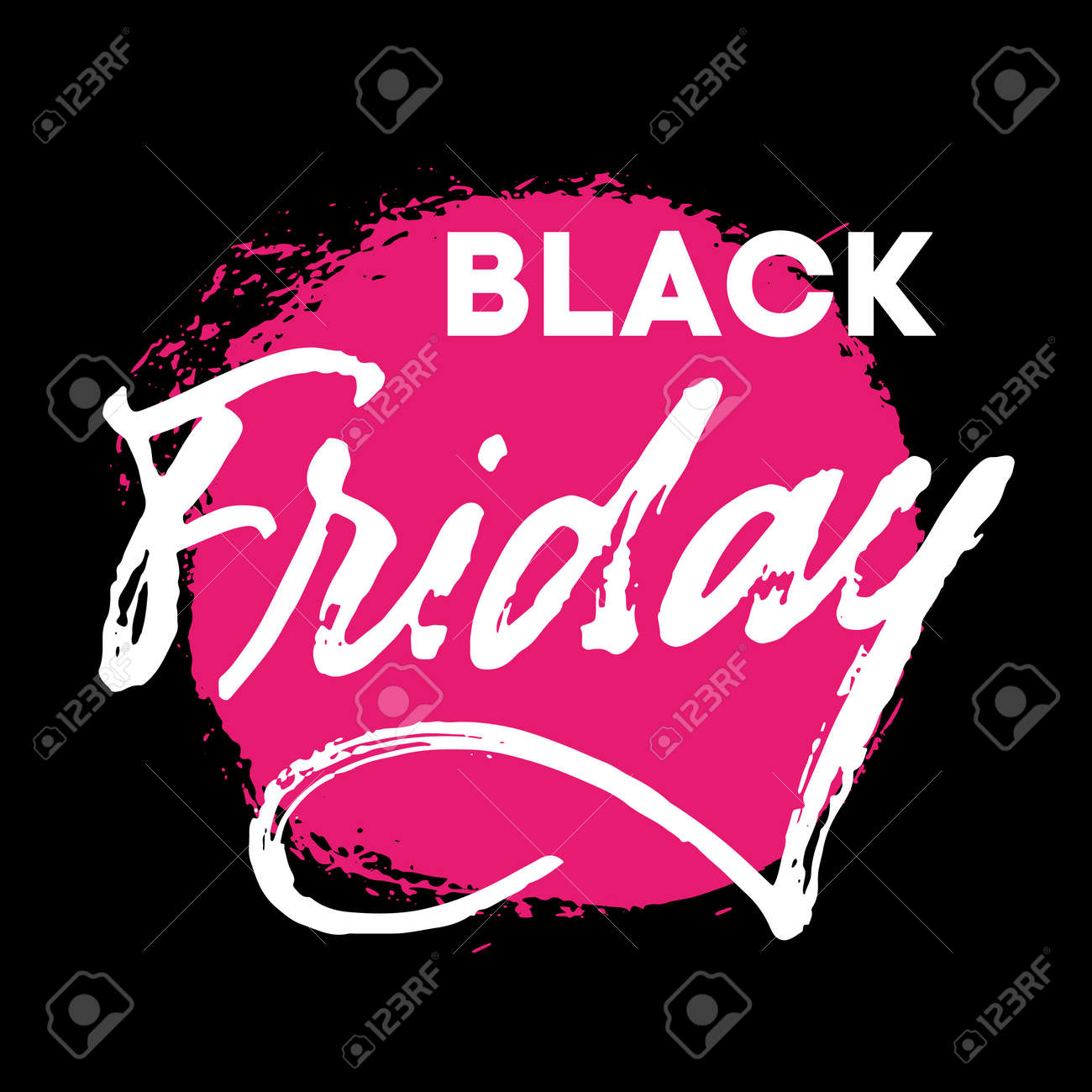 Black Friday hand written lettering sign withreal brush texture. White letters on black background with neon pink textured stain. Advertising concept for sale season and discount banner. Promotional text for social media, banners, posters, tags, stickers or fliers. - 158668942